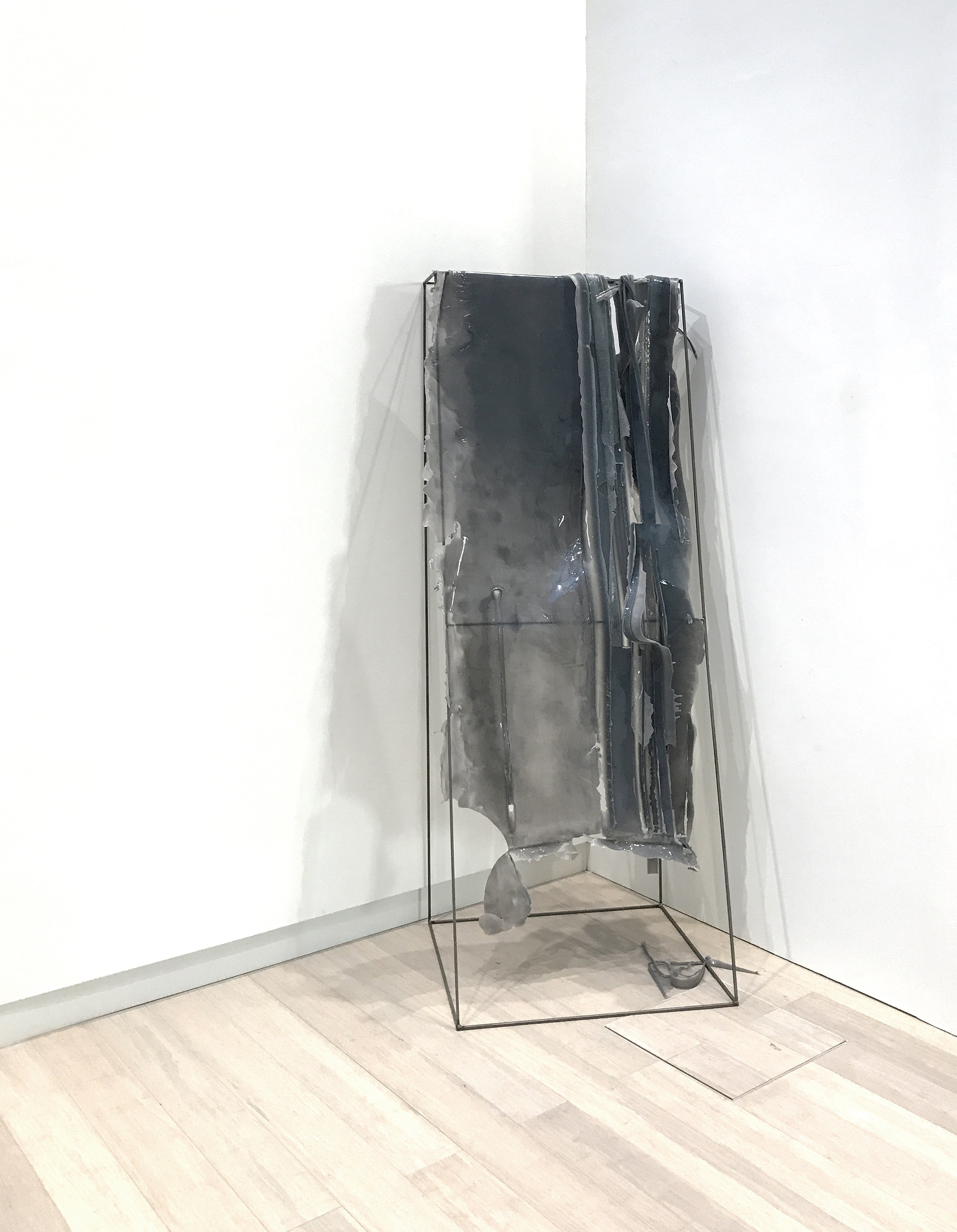 Michal Alpern  Raving & Melancholy , 2017 (one element) pigmented rubber, pigmented silicone, metal rods, pigmented resin size variable to installation