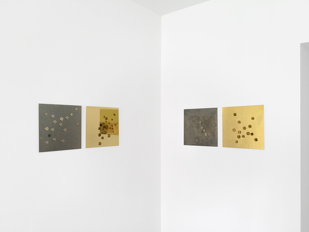 Mikkel Carl  Britney Survived 2007 – You Can Handle Today (1) , 2016 (left)   Britney Survived 2007 – You Can Handle Today (2) , 2016 (right) United States coin currency on milled steel sheet (left panel2), Eurocents on anodized aluminum sheet (right panel2) 12 x 12 inches (31 x 31 cm) each MC4