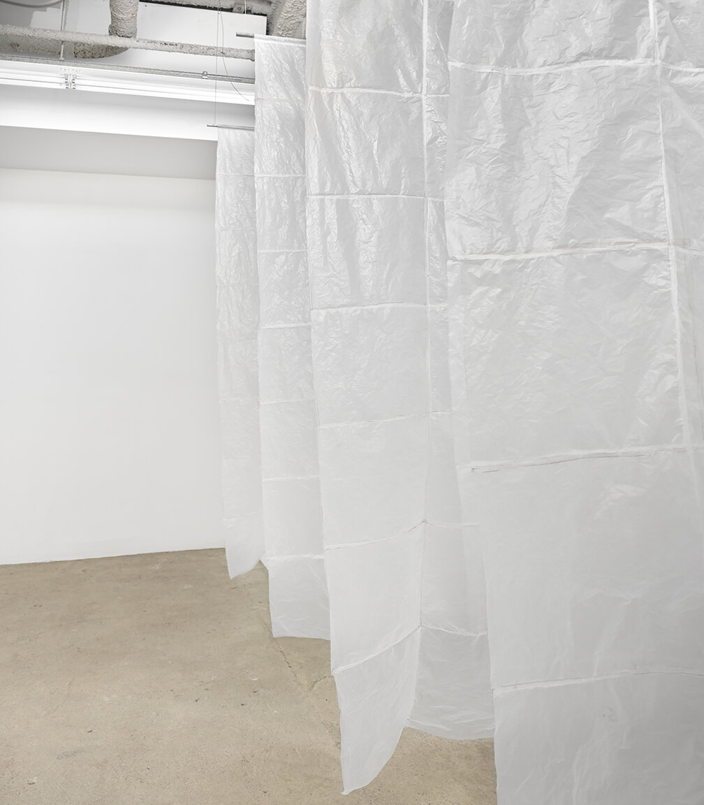 Sean Donovan Wraith, 2021 48 used plastic bodega bags, marker, steel, stainless steel cable, hardware 90 x 72 inches (229 x 183 cm) each panel SD62 – SD66