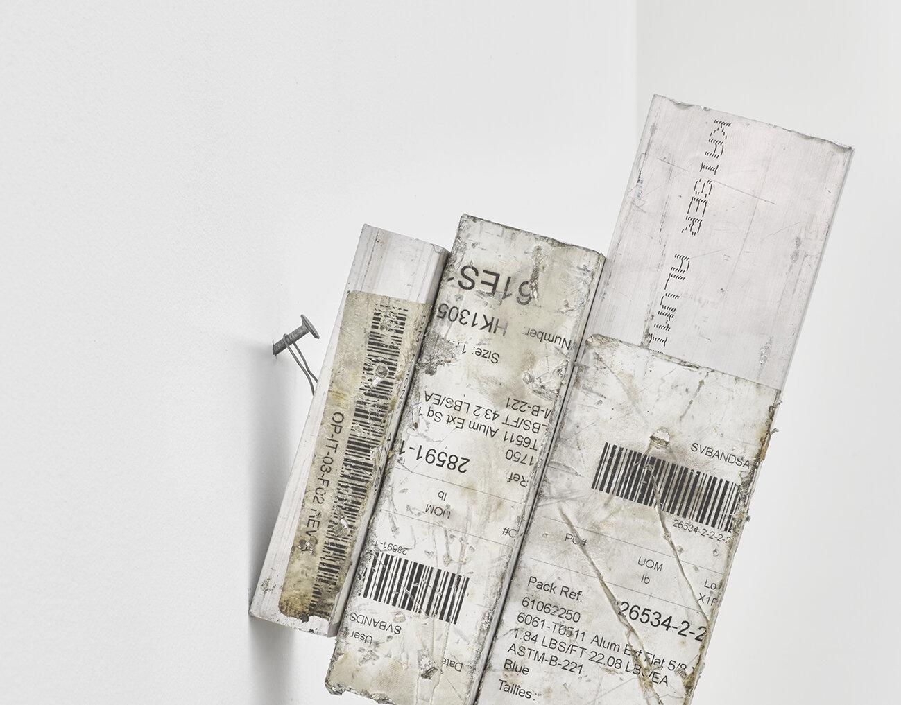 Chadwick Rantanen Crux Simplex , 2019 (detail) Aluminum cutoffs, steel 10 7/8× 2 5/8 × 7 1/2 inches (28 × 7 × 19 cm) CR2 (CR1736)