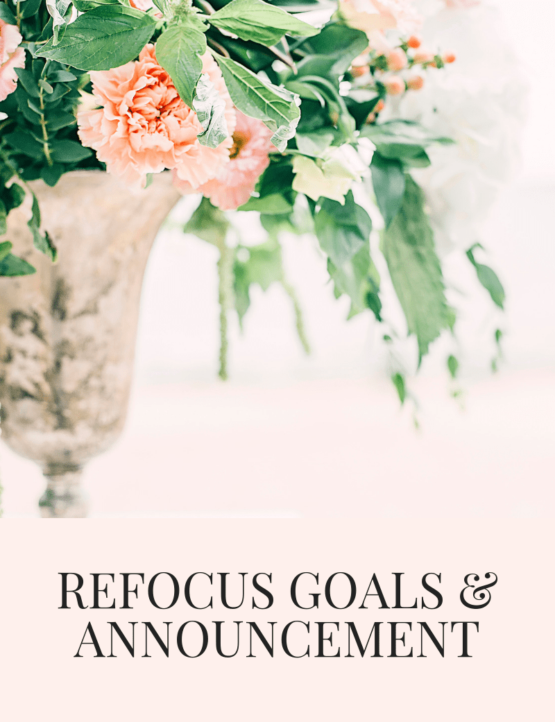 REFOCUS GOALS & ANNOUNCEMENT