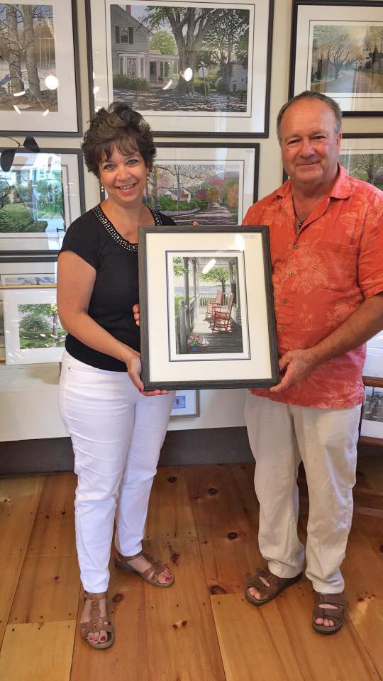 """A couple bought my """"Summer Serenity"""" etching (two red rocking chairs on a porch) to celebrate their 30th anniversary. Thank you! Best wishes for many more happy years together!"""