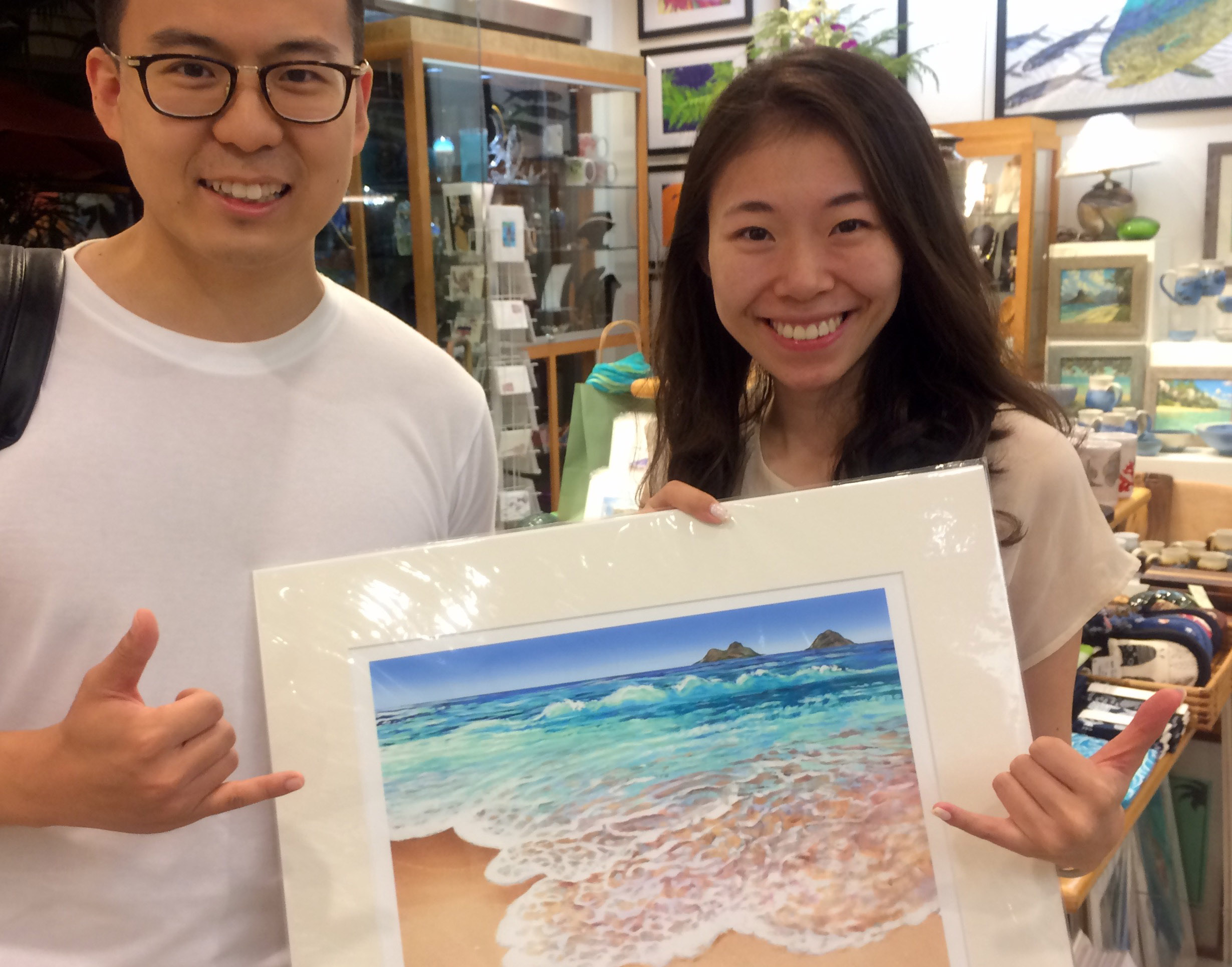 I Met this cute couple from Beijing who were choosing some of my artwork at nohea gallery, Waikiki.
