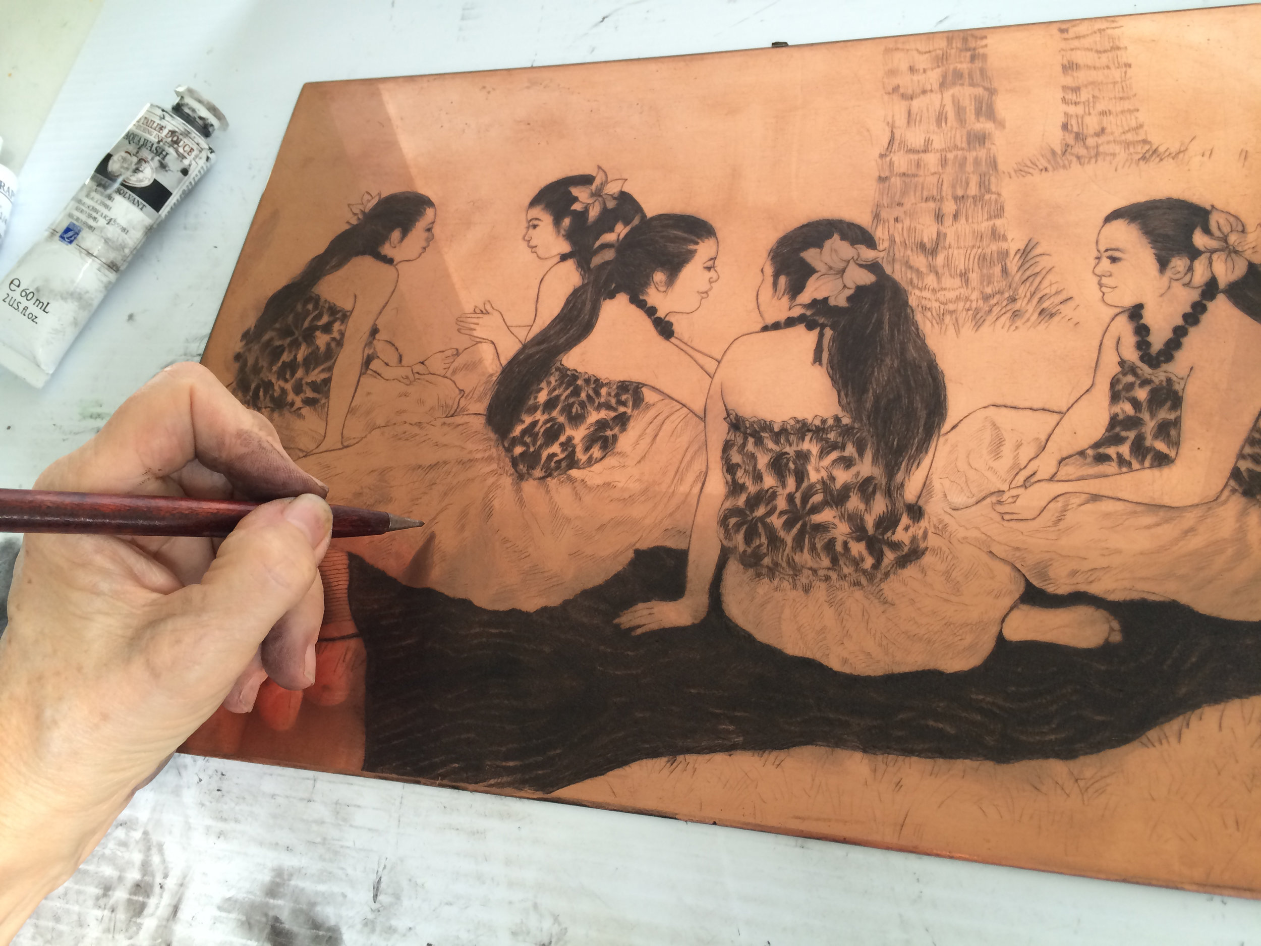 1. Dry point Engraving, touching up copper plate.jpeg