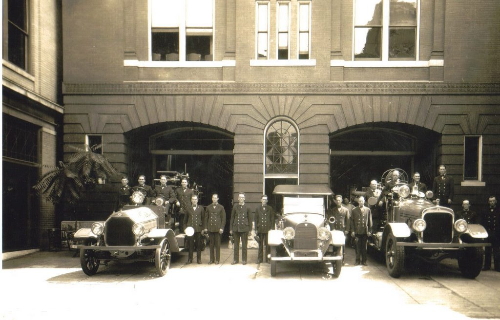 President Franklin Delano Roosevelt seated on the far right truck at Fire Station No. 1 in 1940. Source: RoanokeFire.com