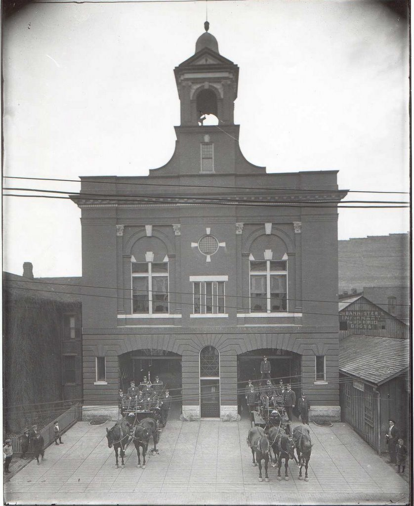 Horse-drawn fire trucks at Fire Station No. 1 in Roanoke, VA circa 1912