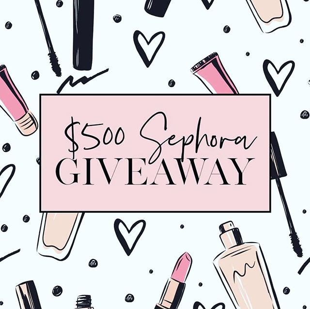 $500 SEPHORA GIFT CARD GIVEAWAY! 💕 i teamed up with some of my favorite blogger babes to give 1 lucky girl a $500 giftcard to sephora! ✖️all you have to do to enter is: 1-like this photo  2-head over to @girlcrushgiveaways and follow EVERYONE they are following 3-tag 2 friends in the comments below who LOVE makeup! (the more friends you tag the more chances you have!) ✖️NOTE: winner will be announce saturday night! this giveaway is not in any way affiliated with instagram.