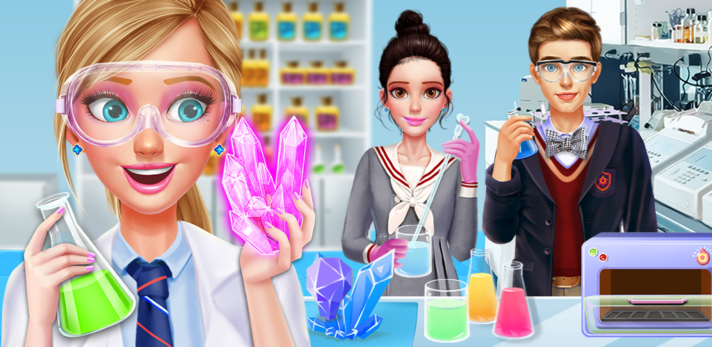 High School Science Girl Salon  Start by going to the spa to cleanse, scrub and moisturize your skin using high end treatments and all natural oils. Have a mud musk to remove impurities and finish with toner to brighten your skin! You'll be glowing when you head to the salon for a makeover.
