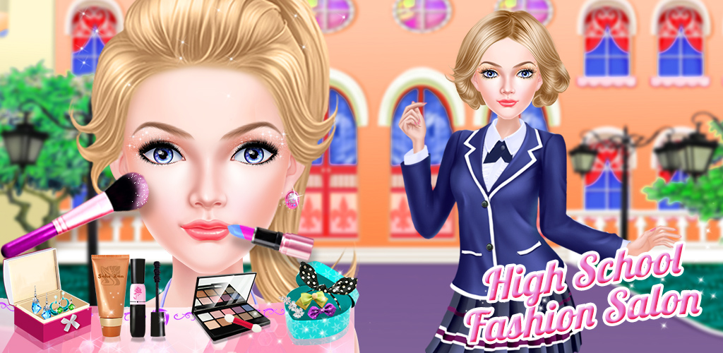 Fashion Girl High School Salon  Take the hip high school gal to the salon for a fun day at the makeup counter and give her an awesome makeover. Sample all kinds of styles and looks until you find the one that is just right. Apply blush, eyeshadow and lipstick in a wide variety of colors.