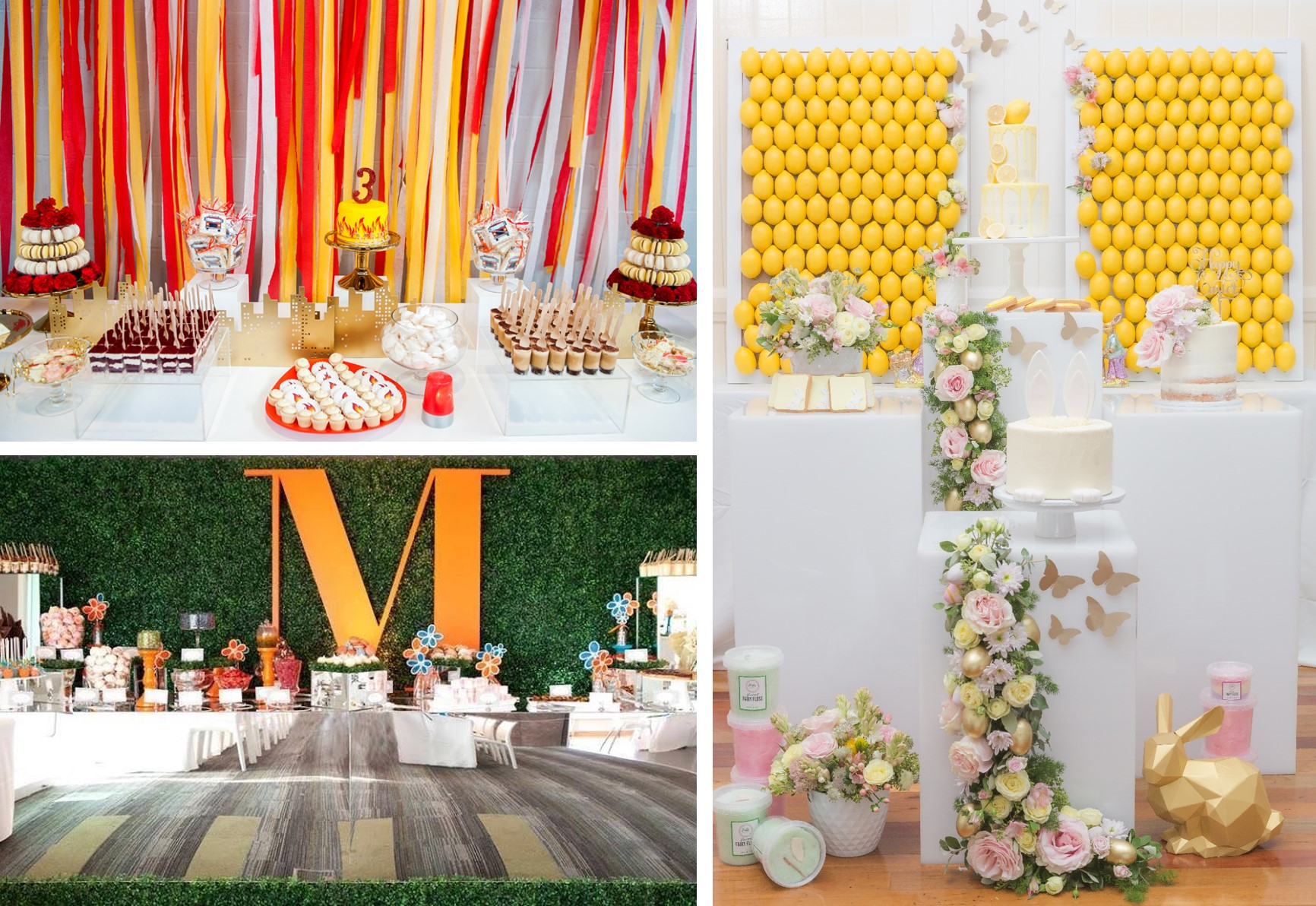 L-R: Collaboration with Sasha Giocondo, ZIPPR ; Photography by Milly Jane Photography   Collaboration with Celebrations by Alysia, The Bella Bloom Co, Miss Cookie Brisbane, Cardique, Sydney Paper Flowers, Fluffy Crunch ; Photography by Deluxe Media Weddings  