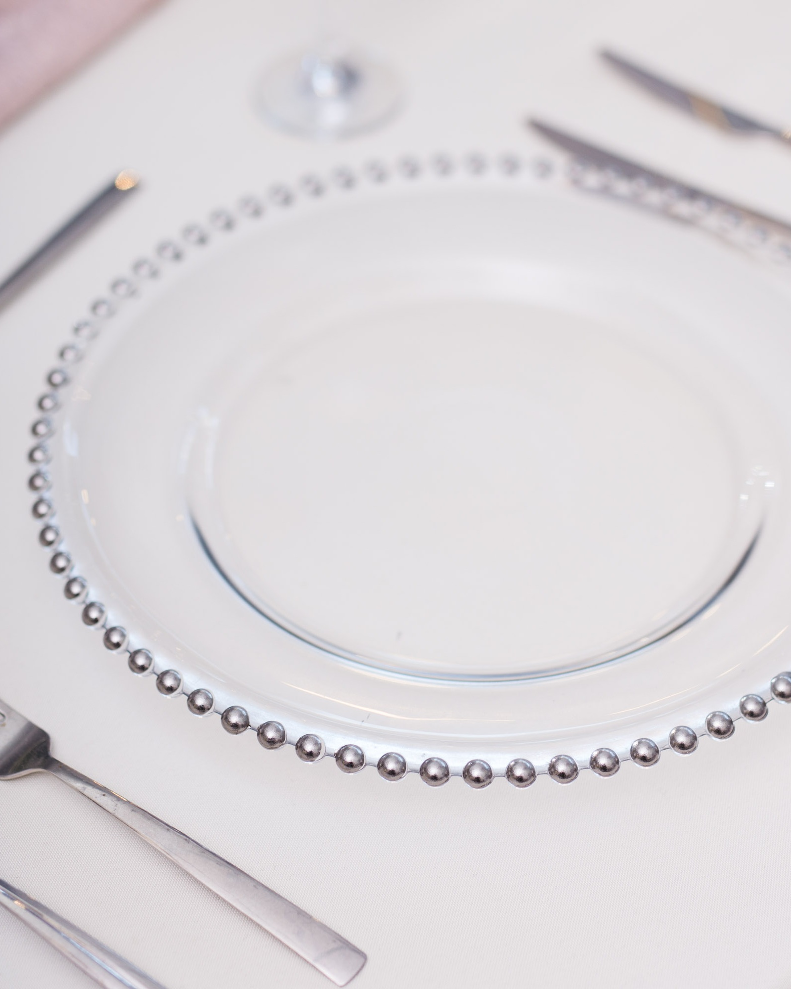 - SILVER BEADED GLASS CHARGER PLATE