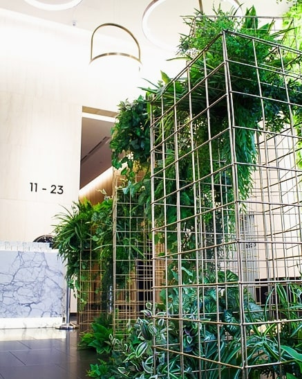 FRESH 🍃 A fresh looking feature installation of our gold wire mesh plinths and greenery for this lobby launch 🍀🌿 . . . . . 📸 @creative.kiwa . . . . #eventdesign #greenerydecor #brisbaneeventhire #cocktailstyle #brisbaneeventstyling #brisbaneevents #eventdecor #styleinspo #corporateevent #corporateeventstyling #eventstylist