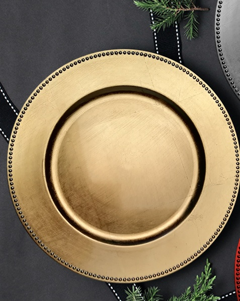 - GOLD BEADED RESIN CHARGER PLATE