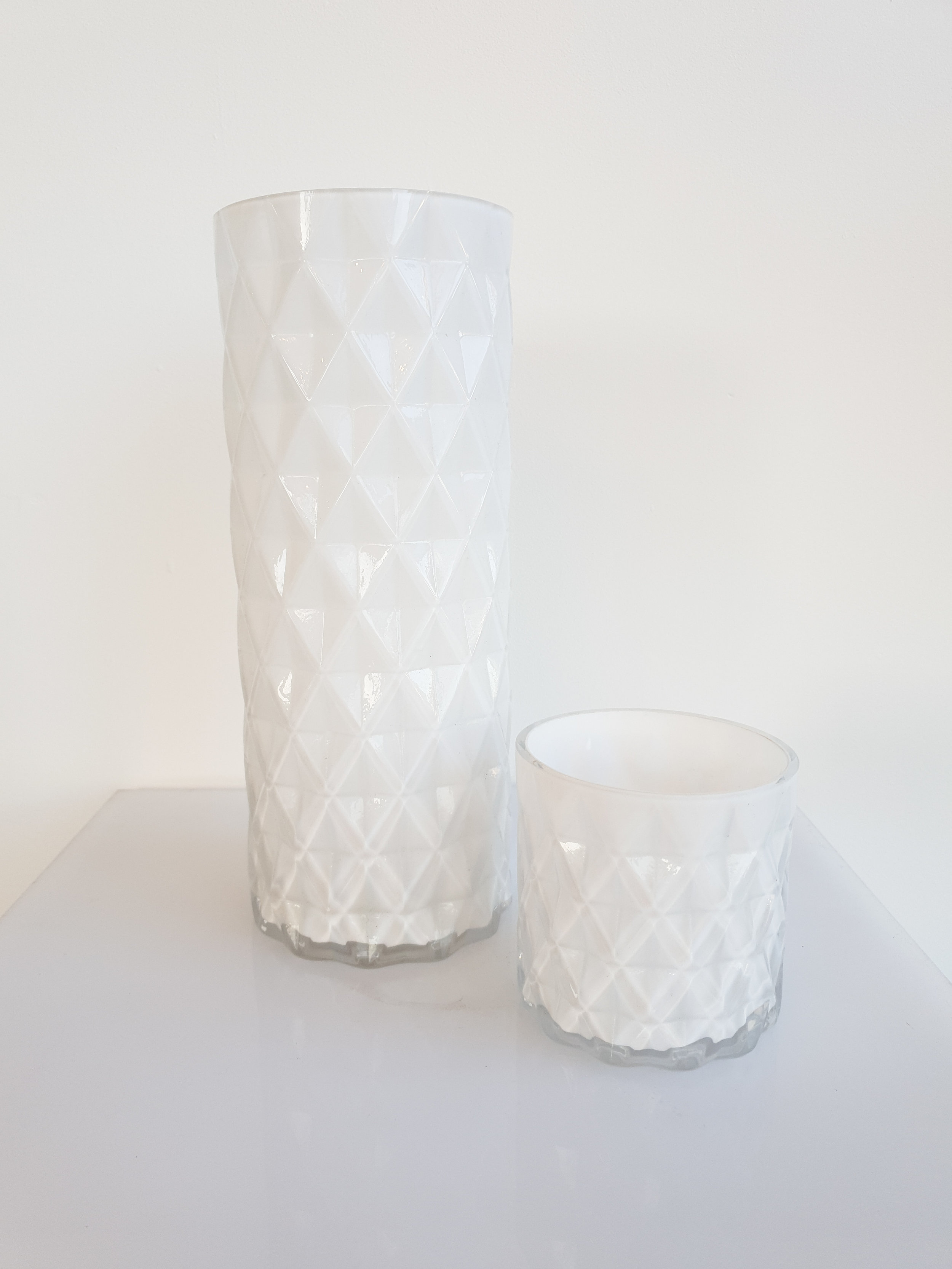 WHITE QUILTED VASES  SMALL $5+GST  TALL$10+GST