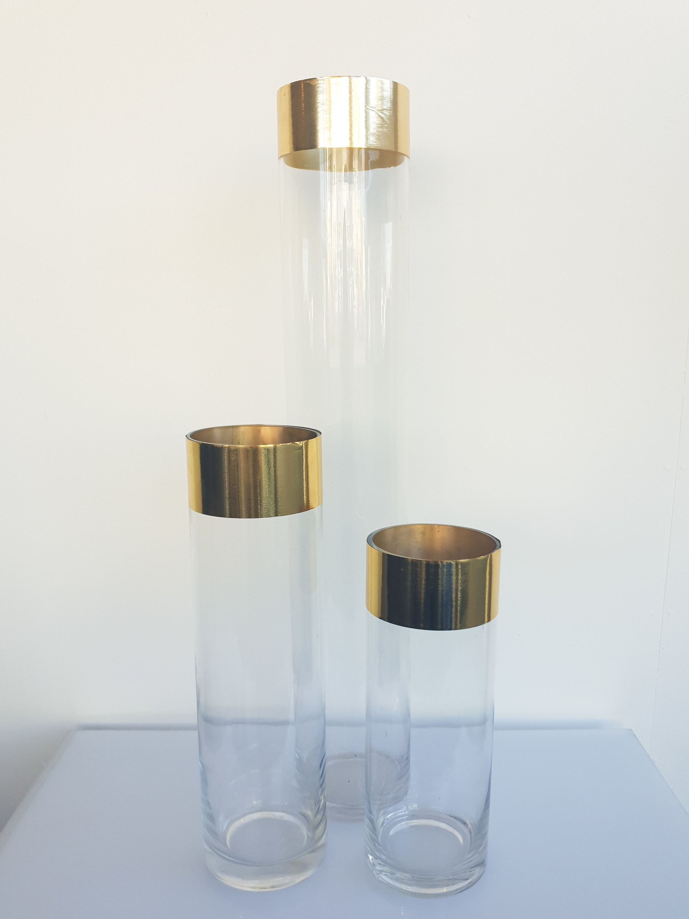 GOLD EDGE GLASS CYLINDER VASE 20 CM H $8+GST 25 CM H $8+GST 30 CM H $10+GST 40 CM H $12+GST 60 CM H $15+GST