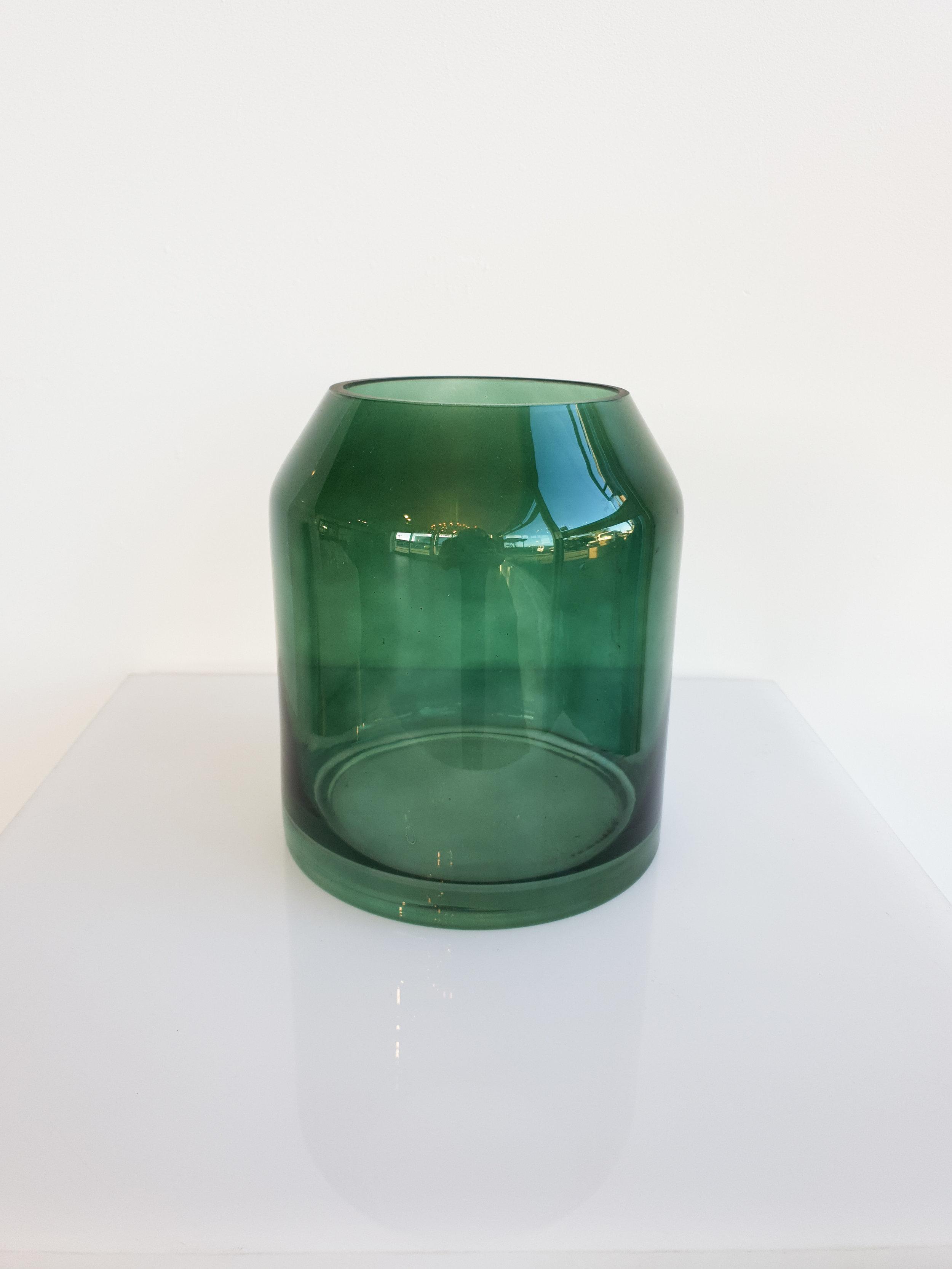 GREEN GLASS VASE  $7+GST