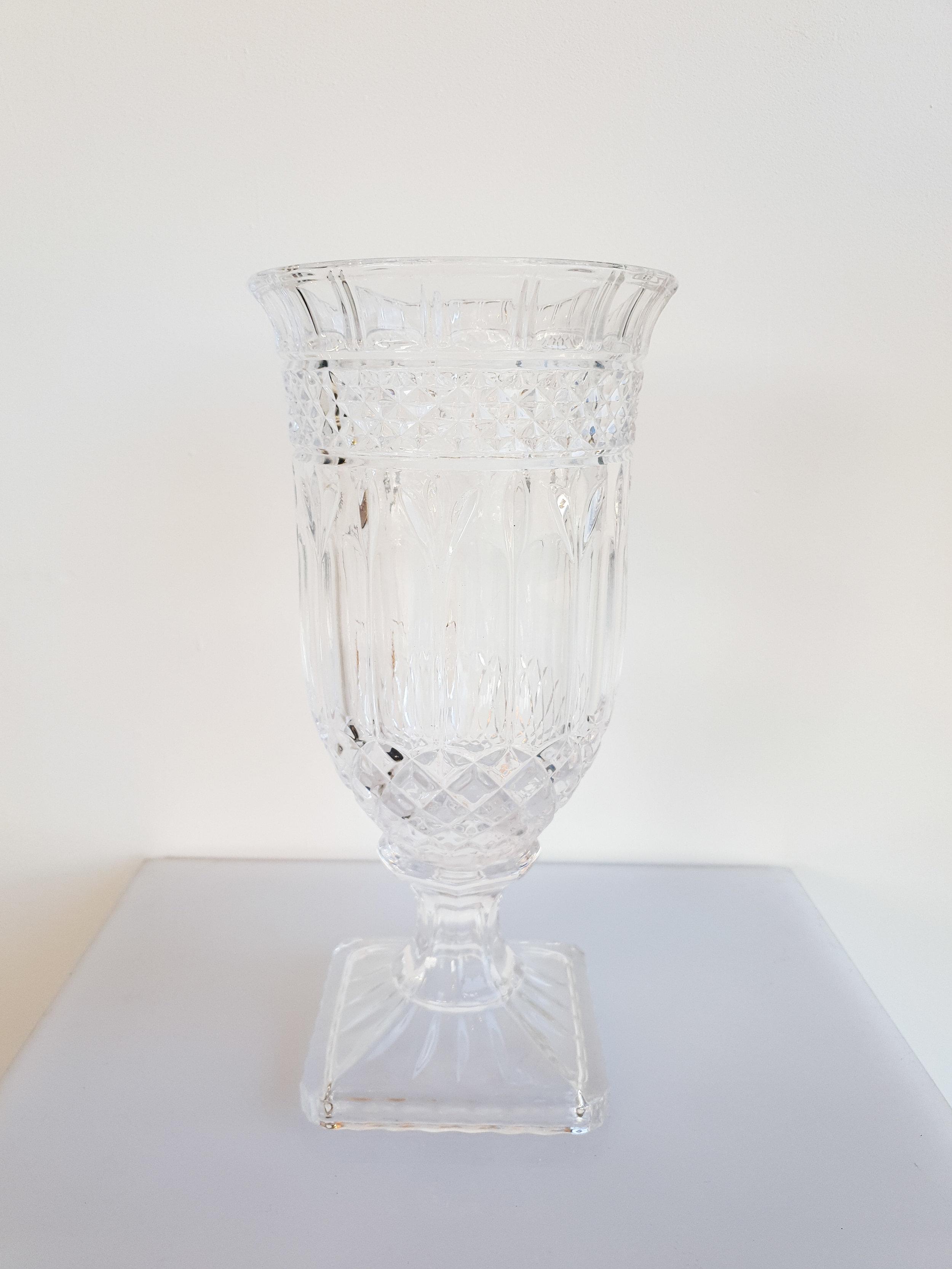 CUT GLASS PEDESTAL VASE  $15+GST