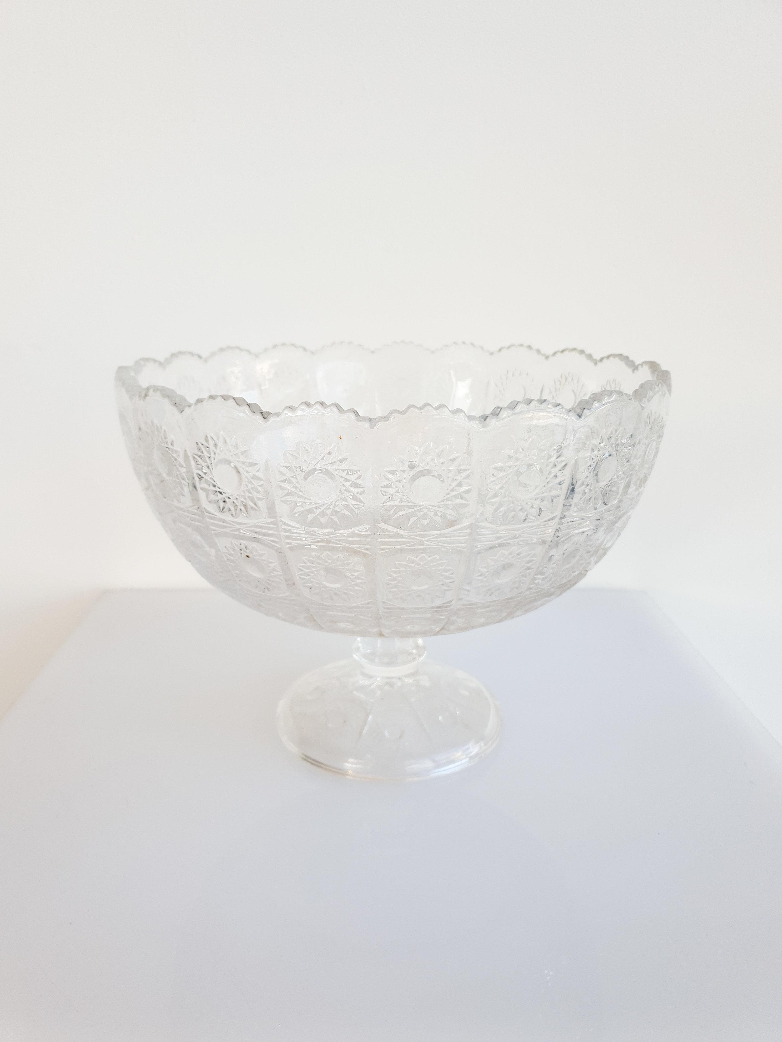CUT GLASS FLORAL BOWL  $15+GST