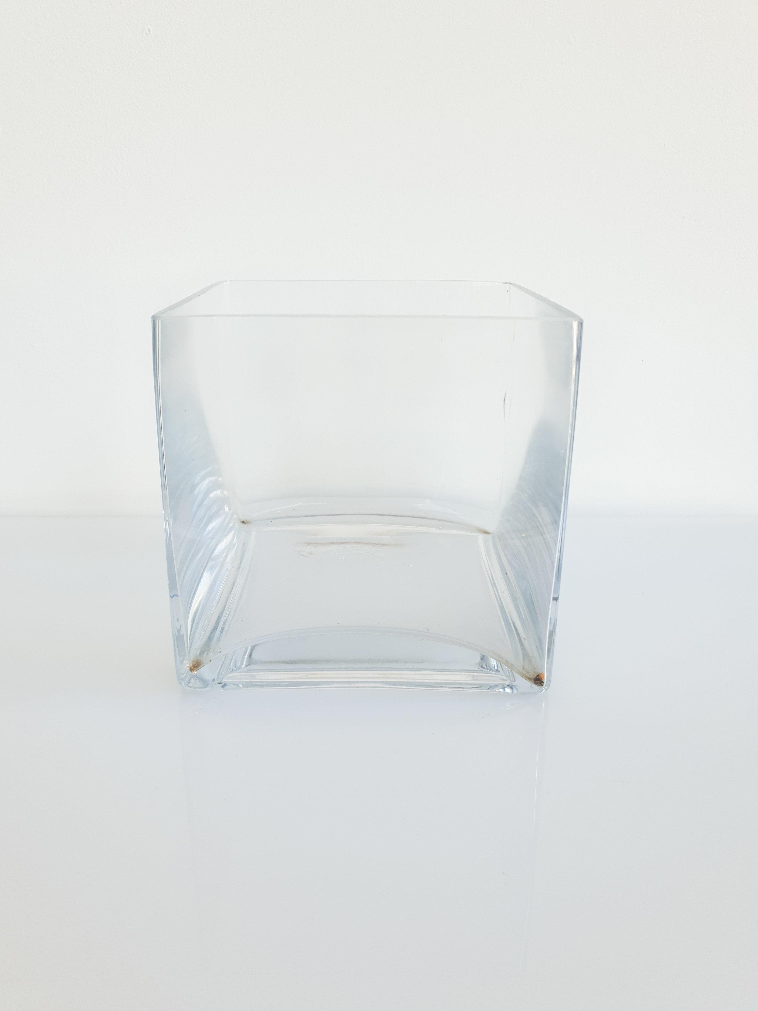GLASS SQUARE VASE  $10+GST