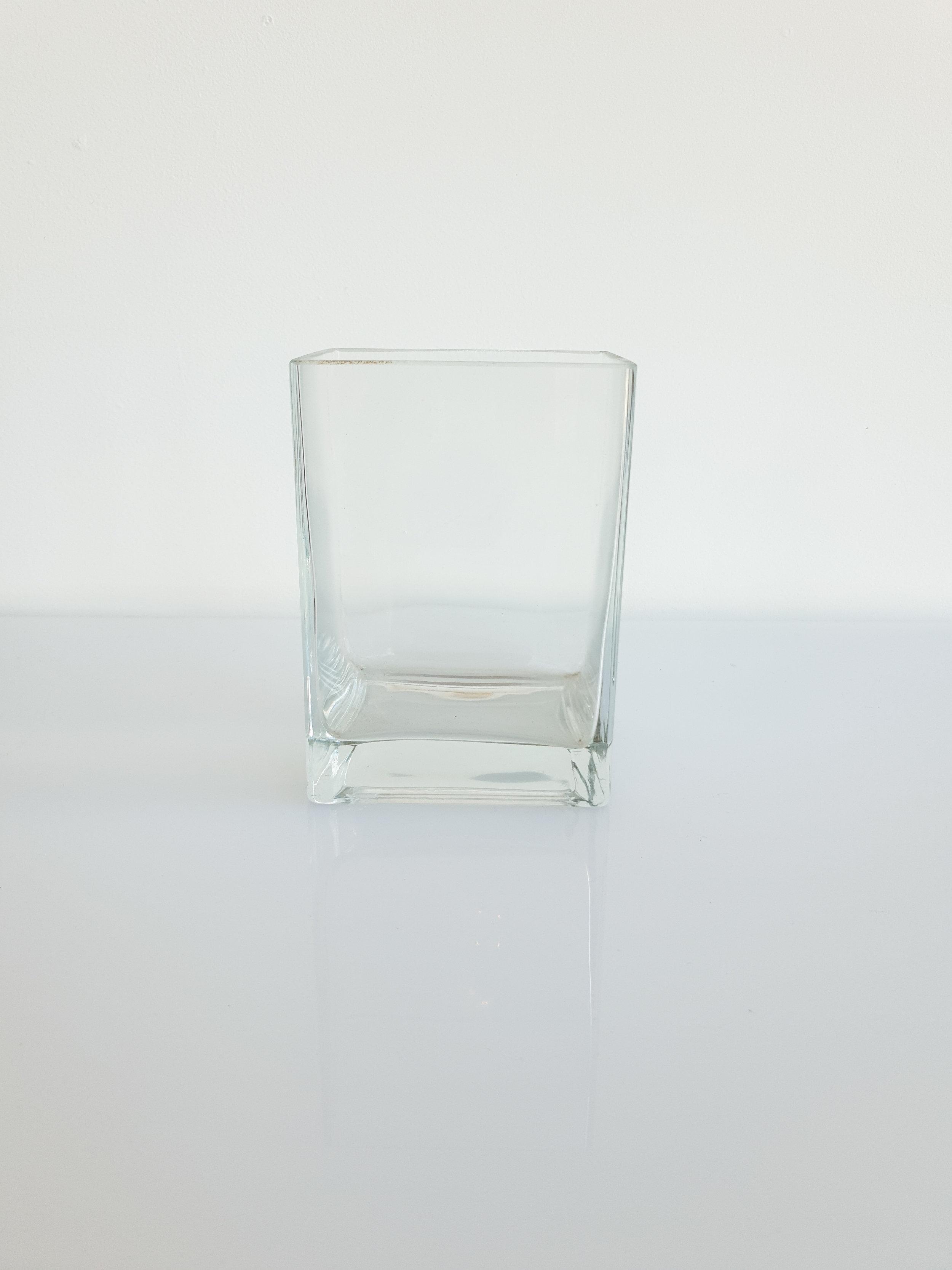 GLASS RECTANGLE VASE $8+GST