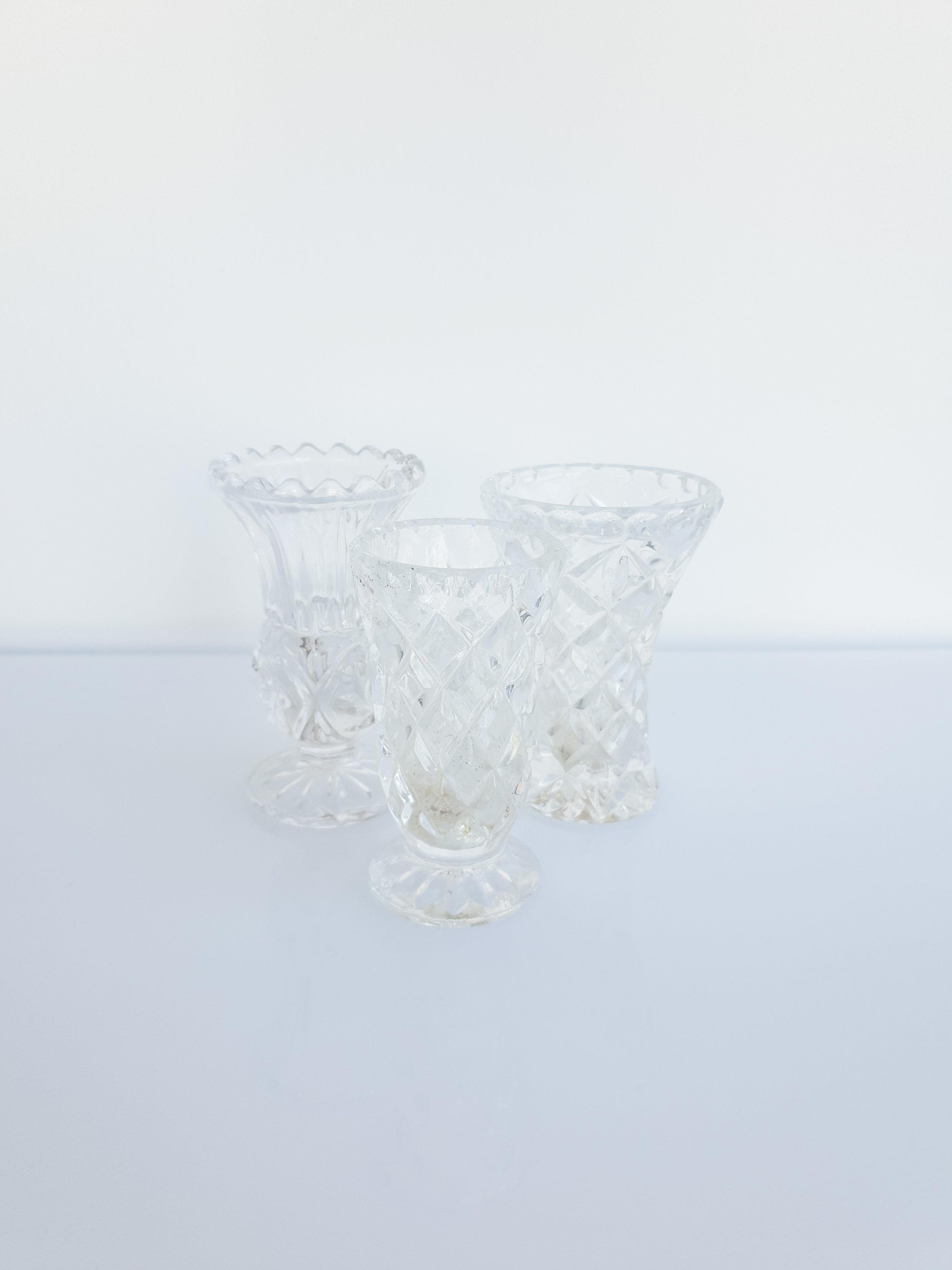 MIXED CUT GLASS BUD VASES  $3+GST