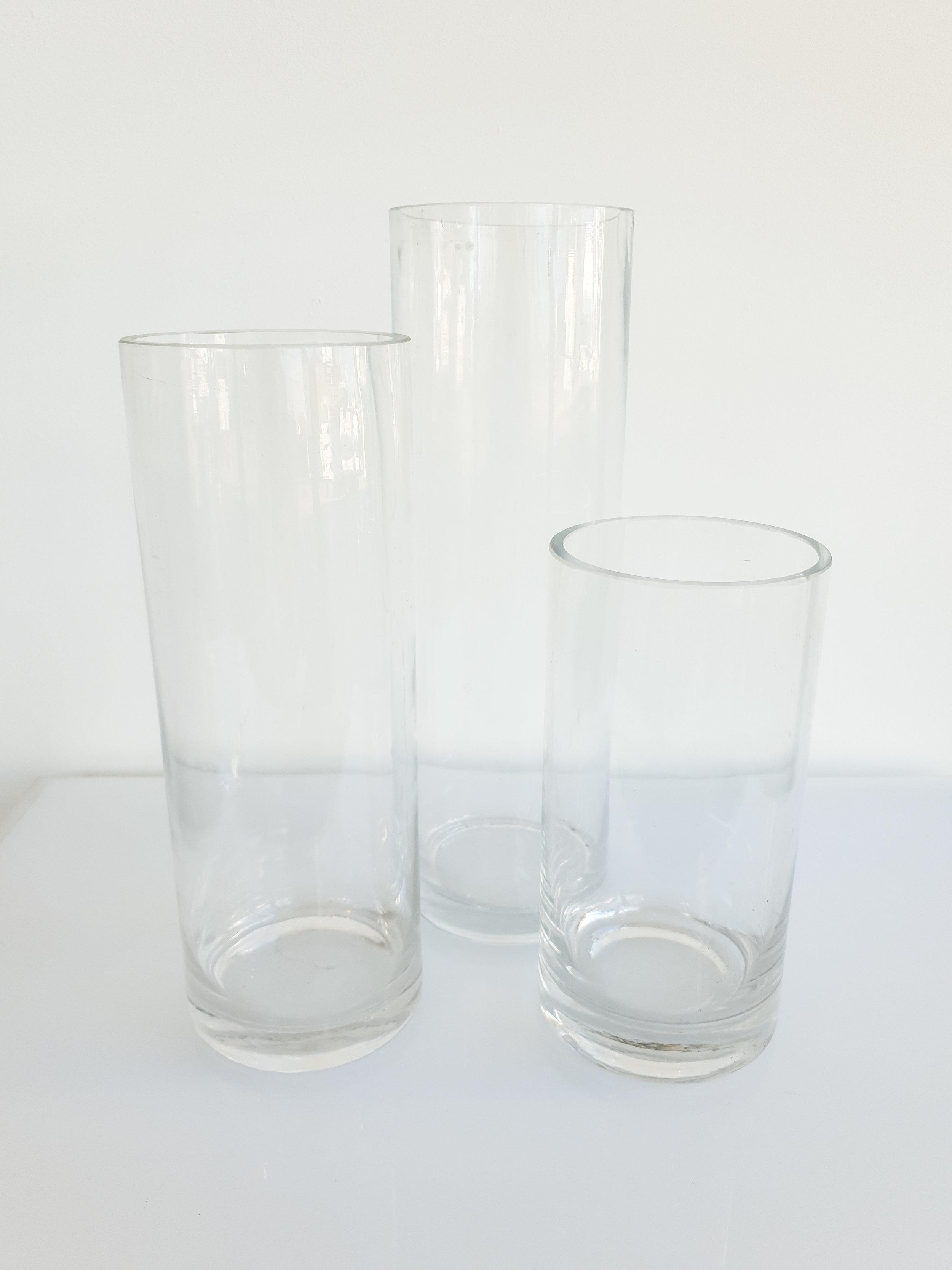 GLASS CYLINDER VASE  20 CM H $6+GST 25 CM H $6+GST 30 CM H $8+GST 40 CM H $10+GST 60 CM H $14+GST