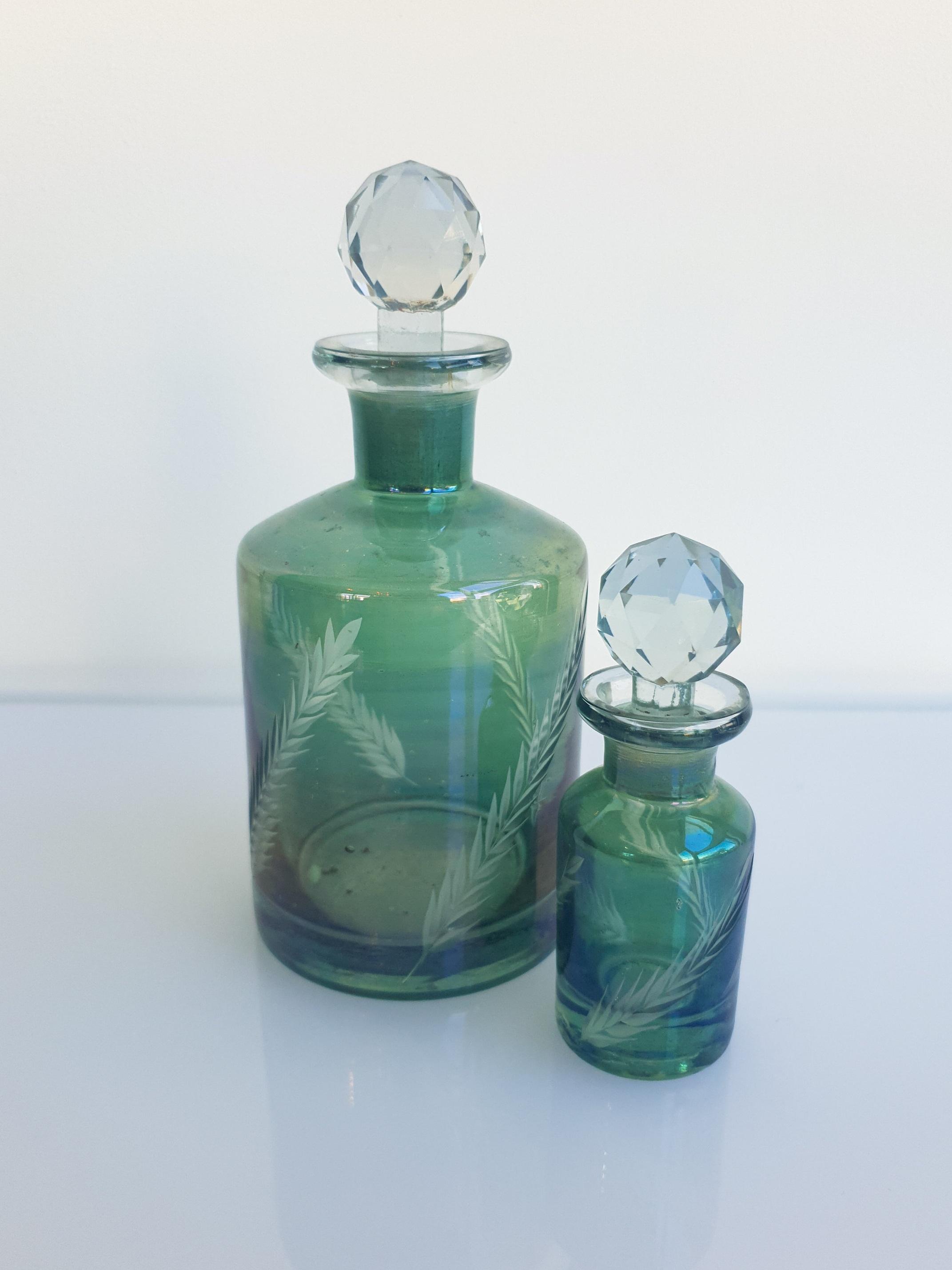 GREEN GLASS PERFUME BOTTLE  SMALL $3+GST TALL $5+GST