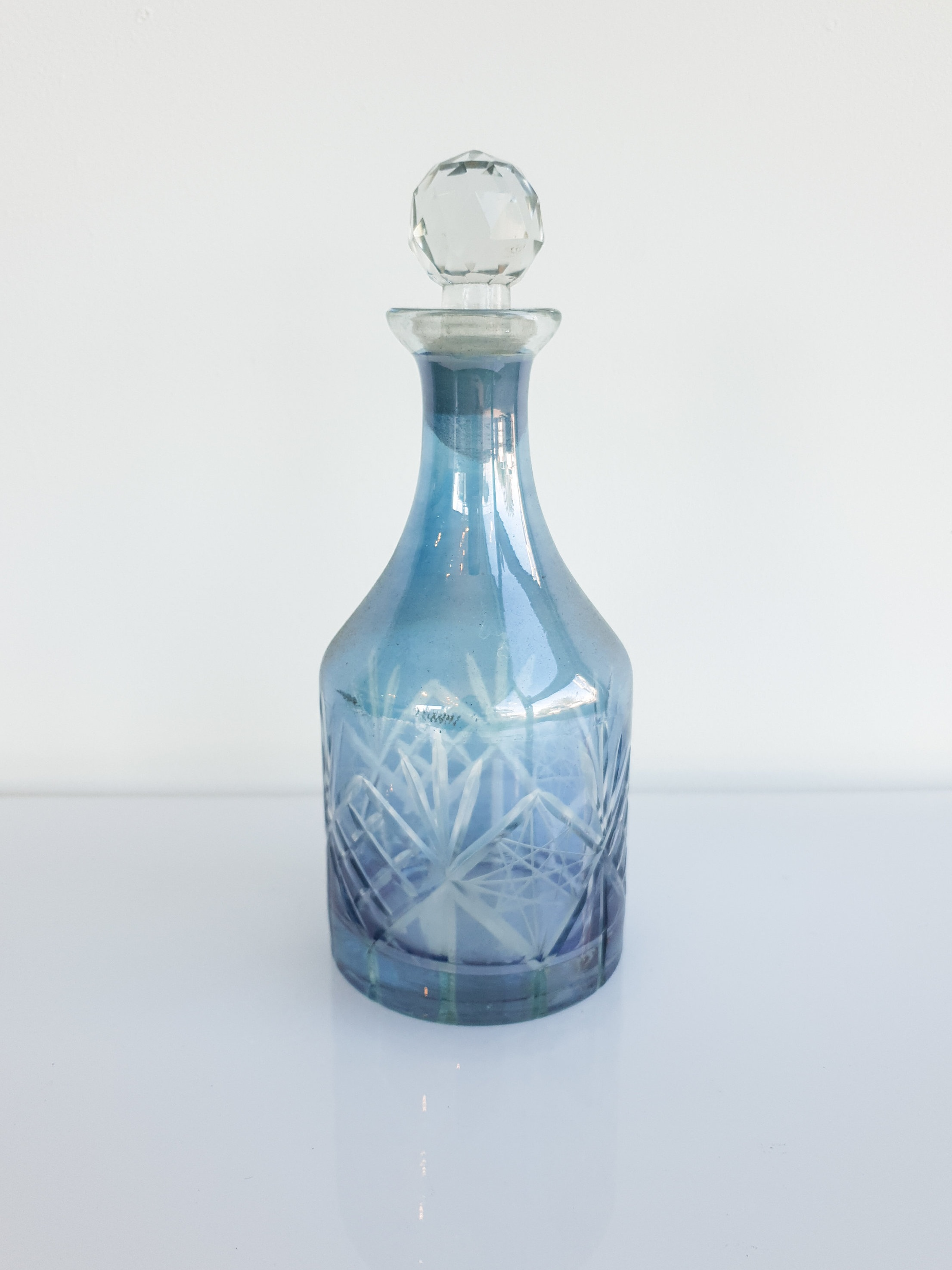 BLUE GLASS PERFUME BOTTLE  $5+GST