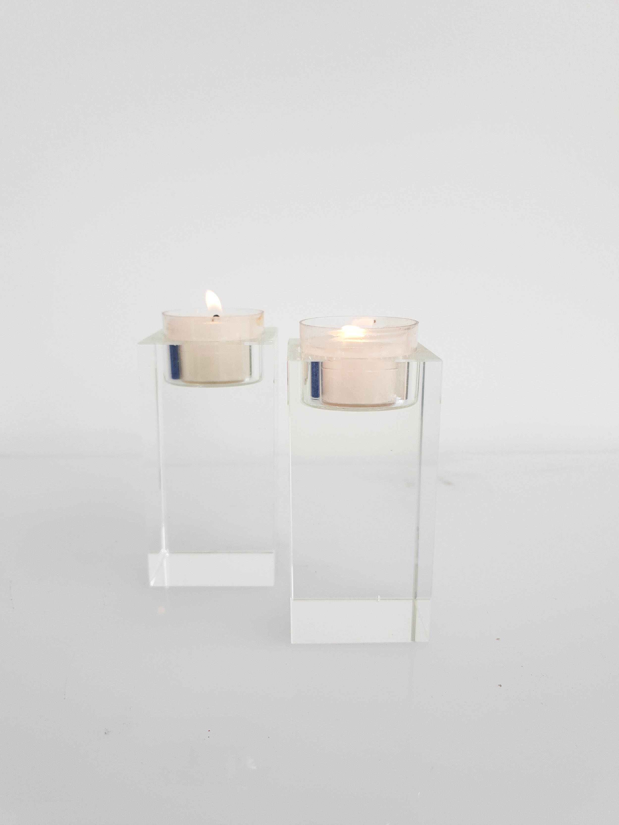 GLASS PRISM CANDLE HOLDER  $6+GST