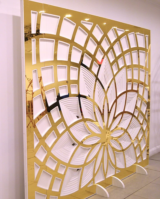 GOLD MIRROR LOTUS FLOWER WALL (2.4 M H X 3 M W)  $575+GST