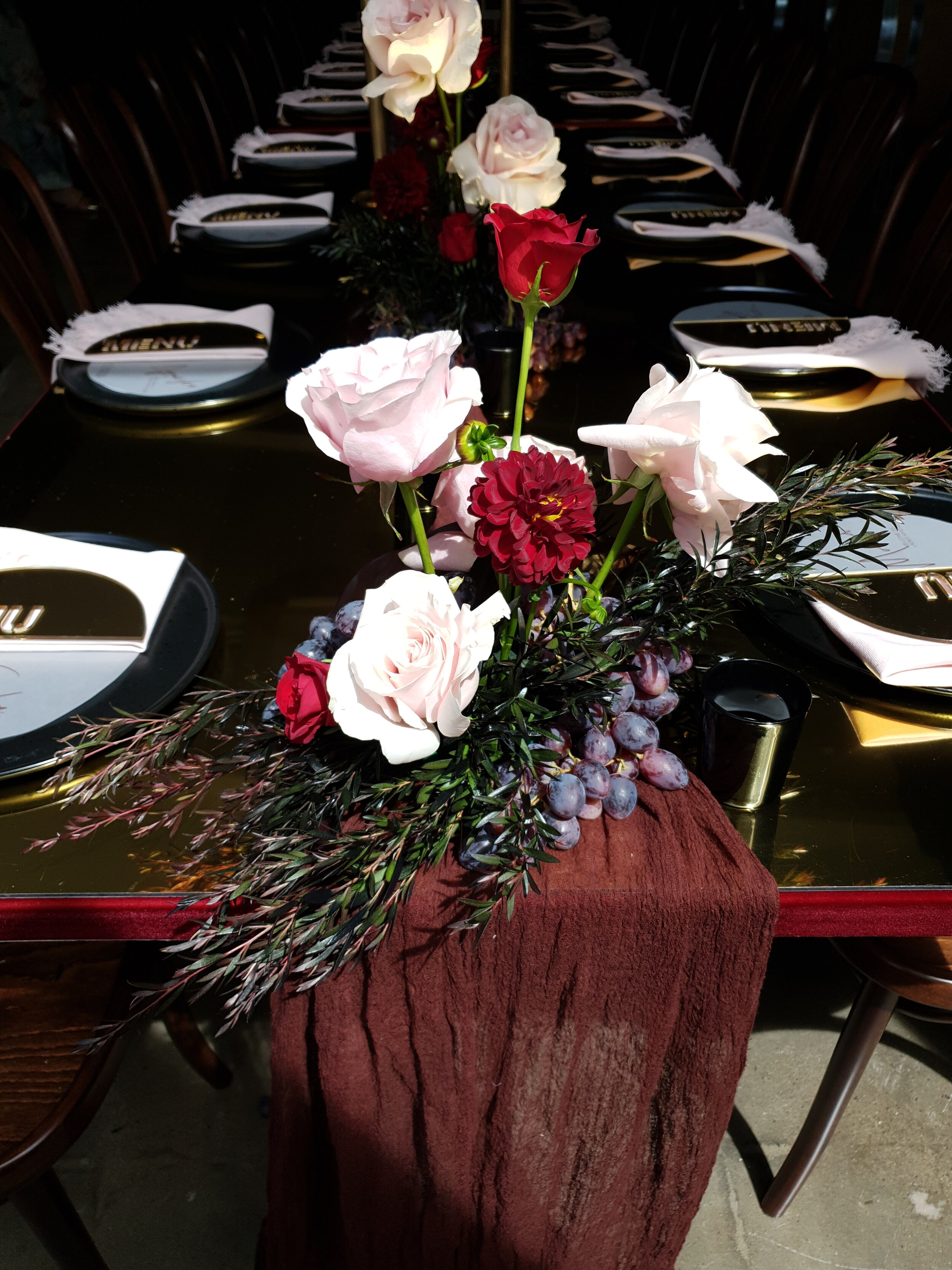 BURGUNDY CHEESECLOTH TABLE RUNNER (3 M L)  $18+GST