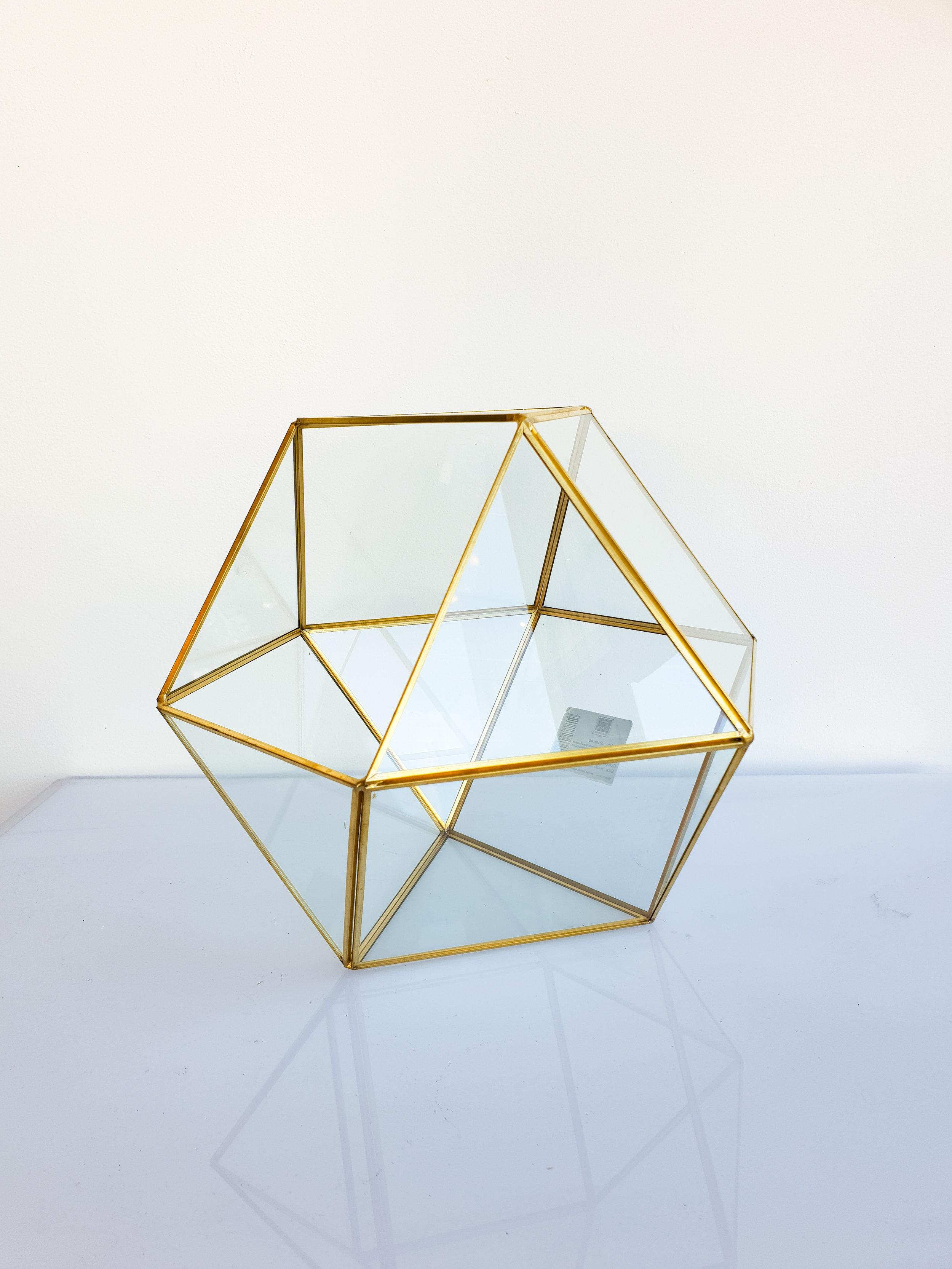 GOLD GEO GLASS TERRARIUM  $15+GST