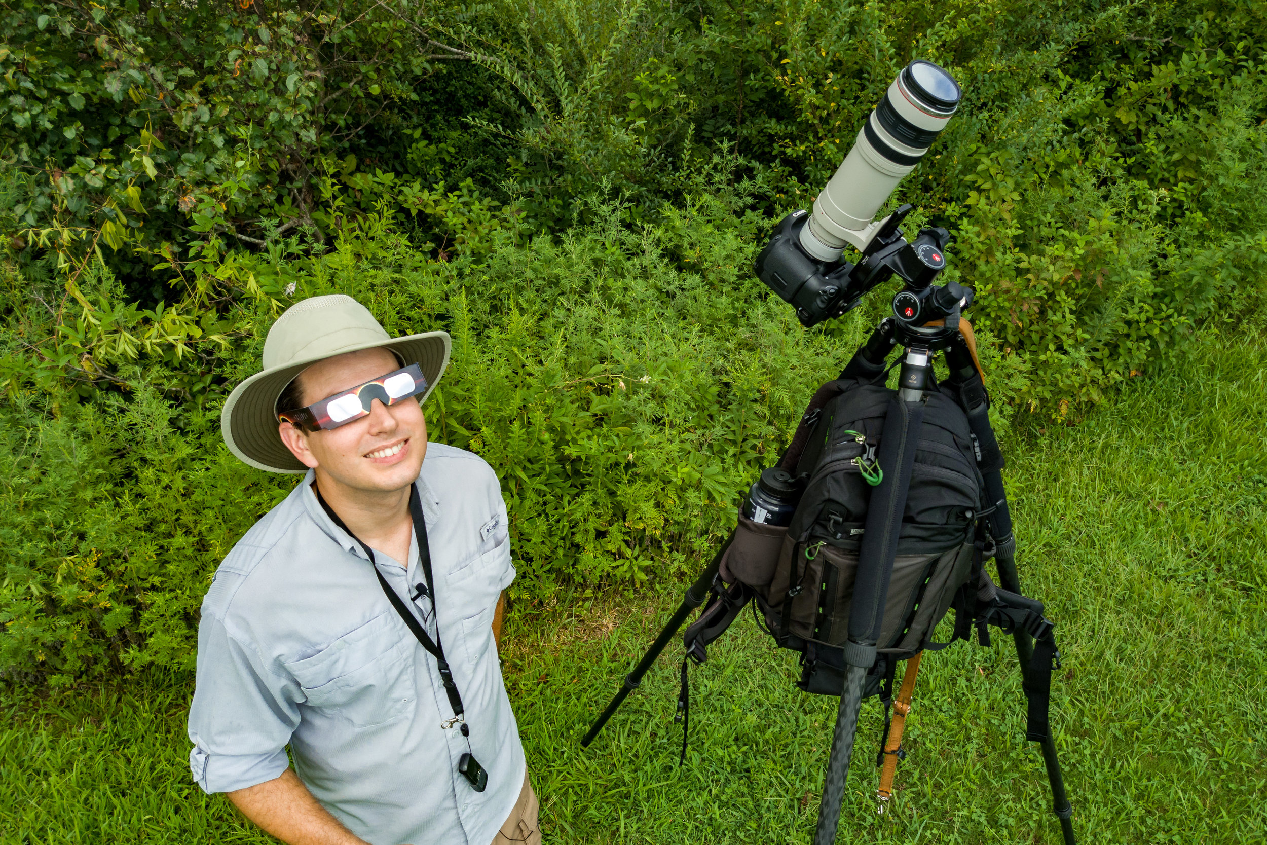 Yours truly in full eclipse photography attire. Solar filter and glasses in place, function trumped fashion for the day.