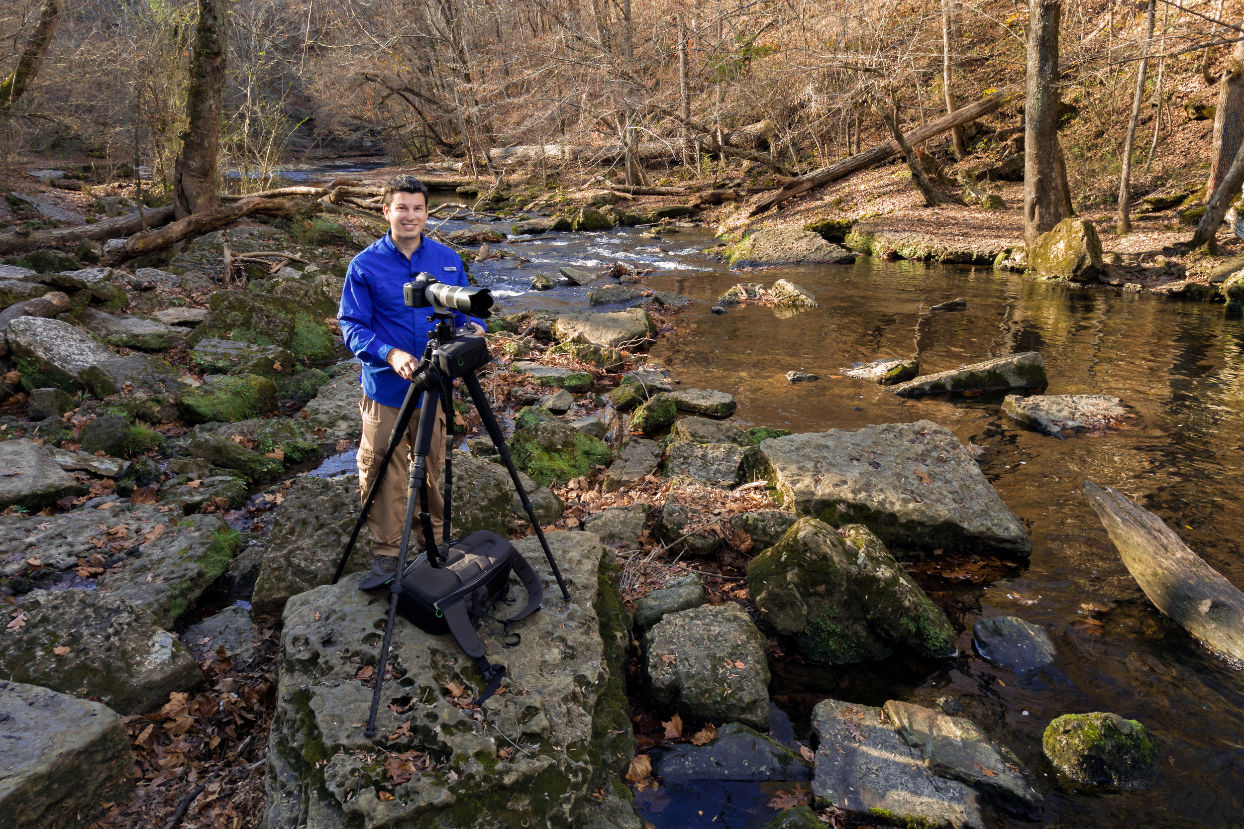 Setting up the camera to shoot some waterfall details at beautiful Rutledge Falls.