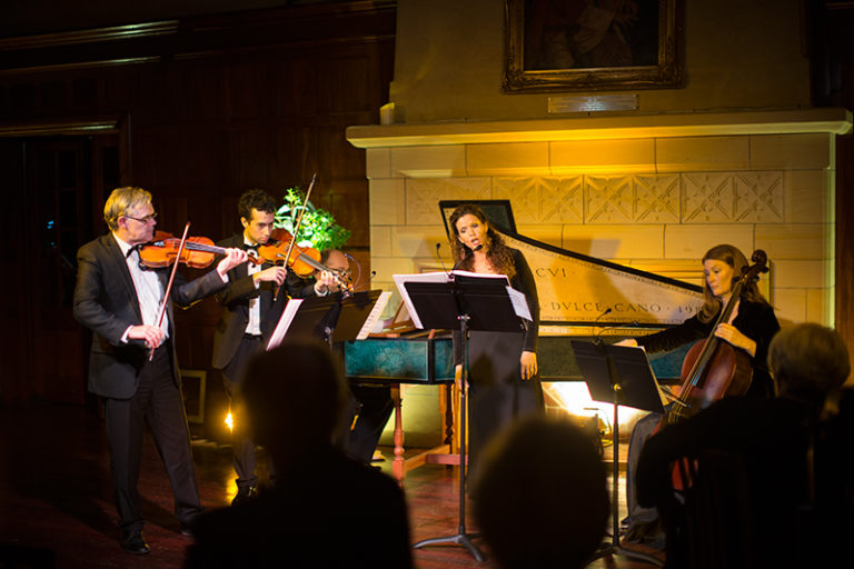 26/09/2015: Early Music Fundraising Dinner   St George's College hosts the Early Music Fundraising Dinner to support the 'Perth Early Music Project', an initiative devised to create an early music ensemble mentored by Emeritus Professor Paul Wright. Sara Macliver performs with the Musician's Table ensemble, featuring artists Paul Wright, Stewart Smith, Noeleen Wright and Lucas O'Brien.