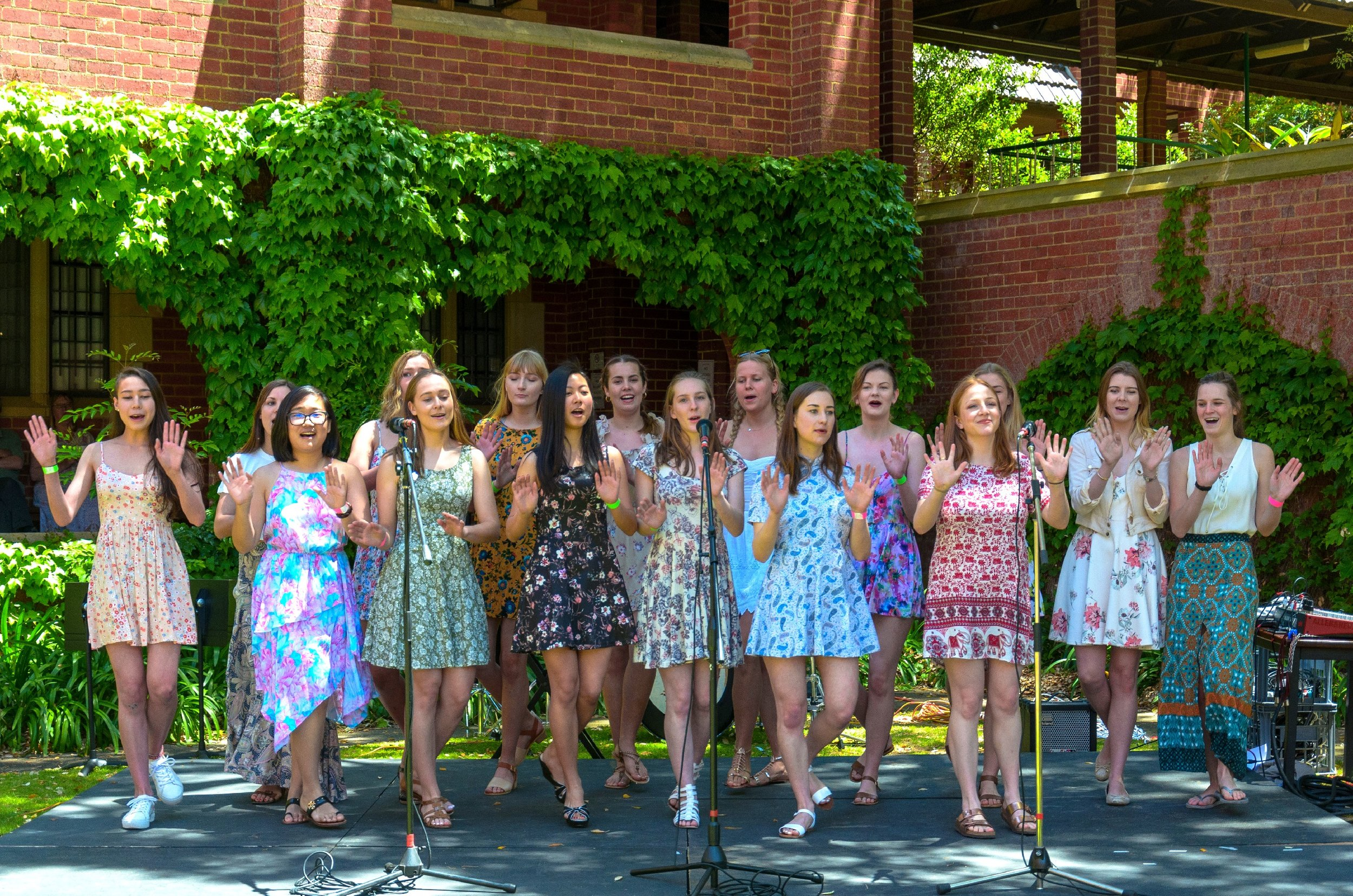 30/10/2016: The Spring Fair   The College's female acapella group, the  Mockingbirds , performs at the annual St George's Spring Fair.