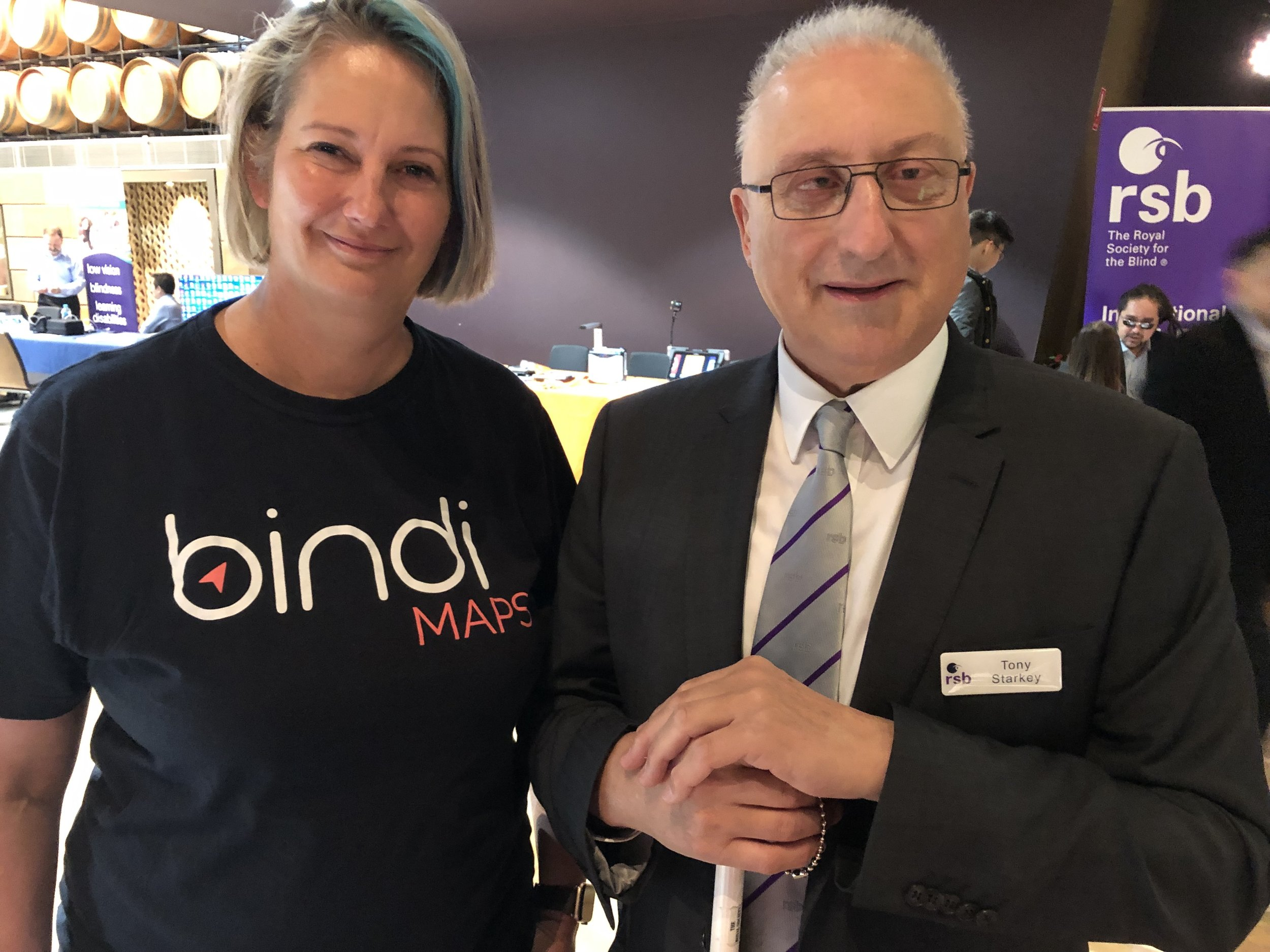 Anna Wright from BindiMaps and Tony Starkey of the Royal Society for the Blind at the RSB's Tech Fest in Adelaide.