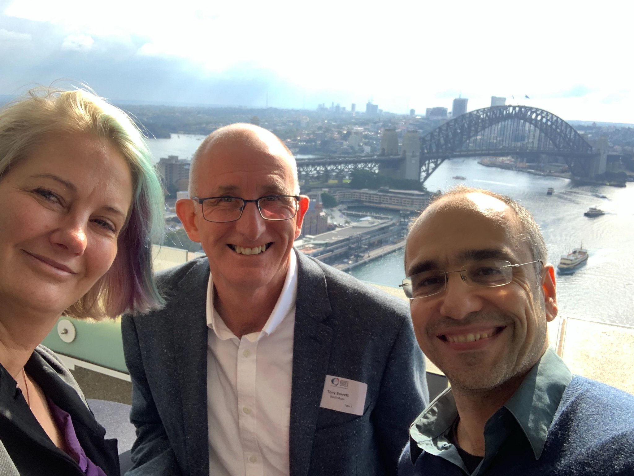 Anna, Tony and Thanassis at the AMP Building in Sydney, showcasing BindiMaps.