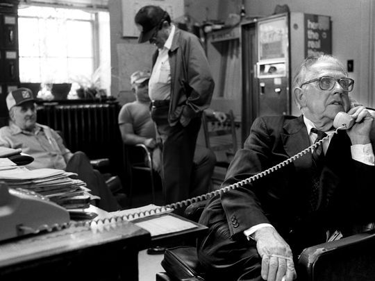 E.Y. Ponder in the back office at the Madison County jail in 1985. Asheville Citizen-Times photo.