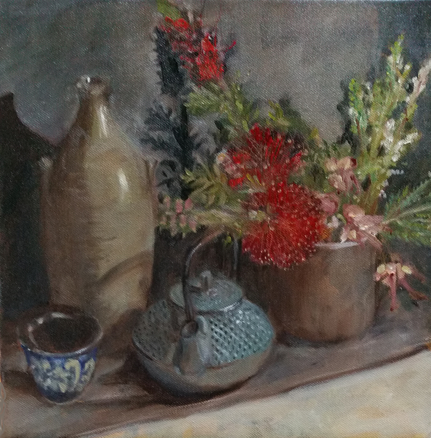 Garden Flowers and Teapot  (SOLD)  Oil on canvas  12 x 12 inc