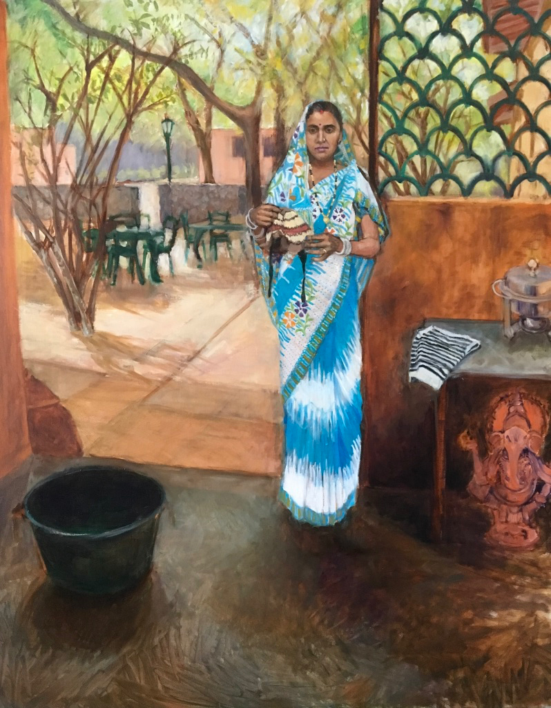 Indian Village Woman    Women's Choices Series  Oil on linen  30 x 24 inch