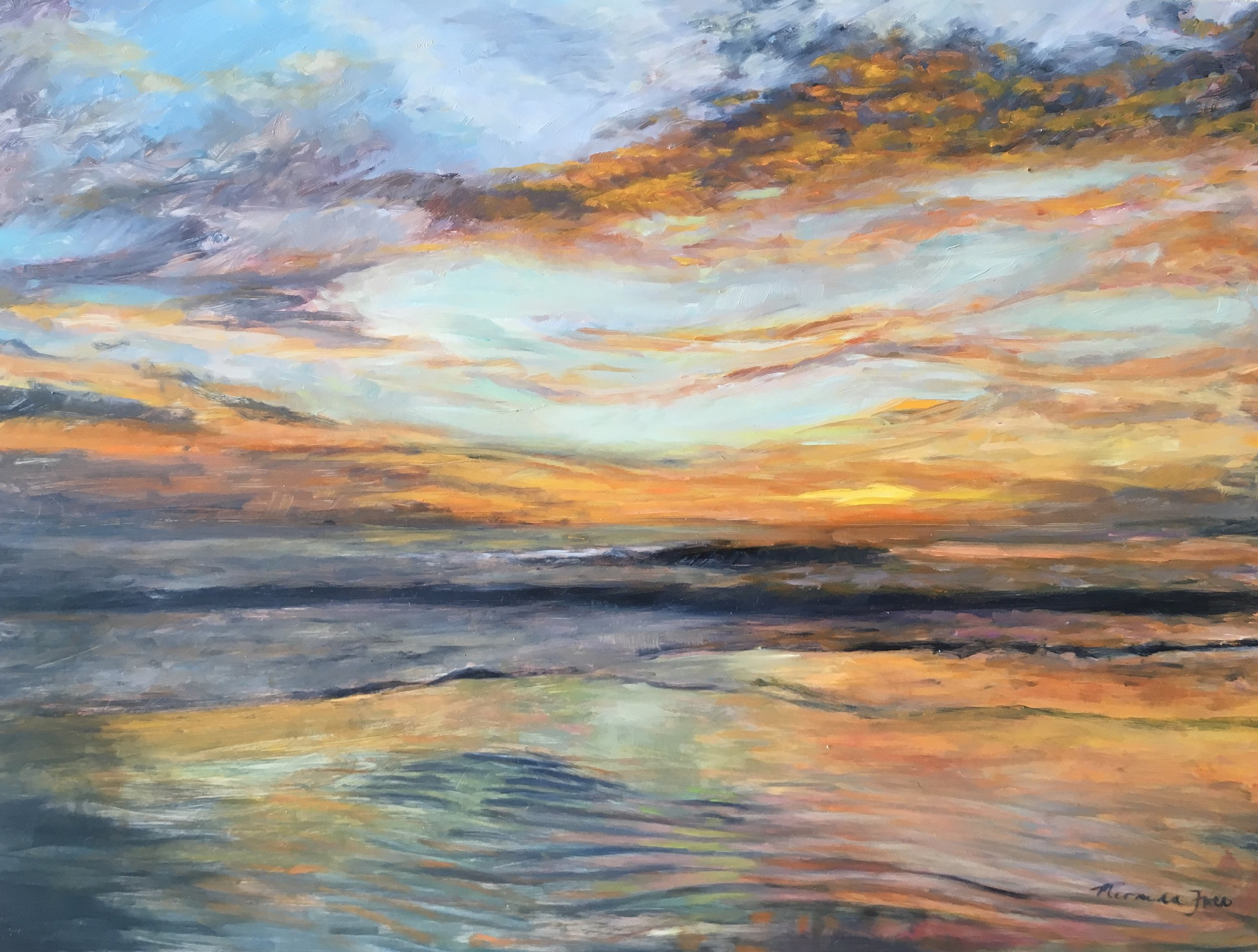 Sunrise at Diggers  Oil on Aluminium Panel   12 x 16 inch  Available