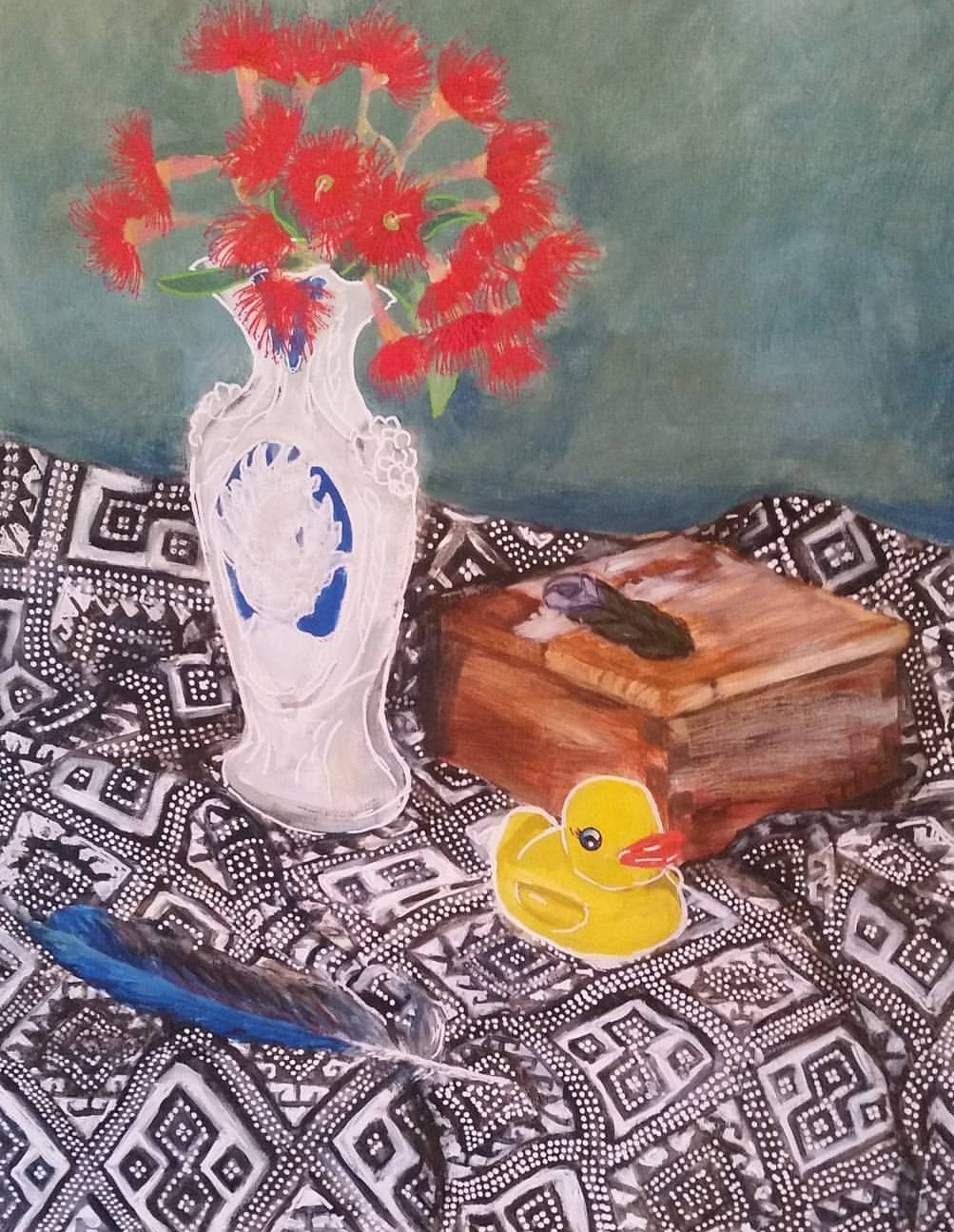Still life with Duck  Acrylic on linen panel  24 x 18 inches  Available