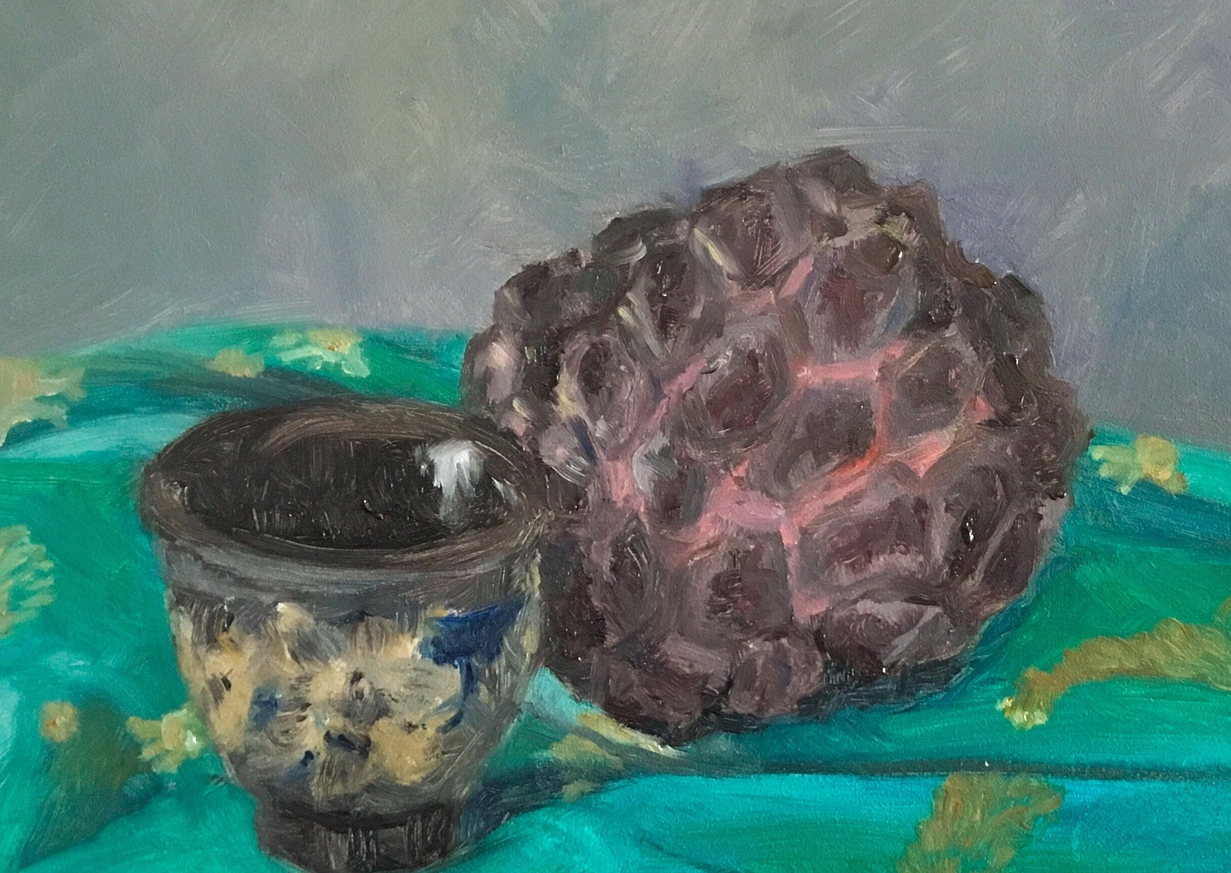 Custard Apple & Tea Cup  Oil on timber panel  5 x 7 inches   Available