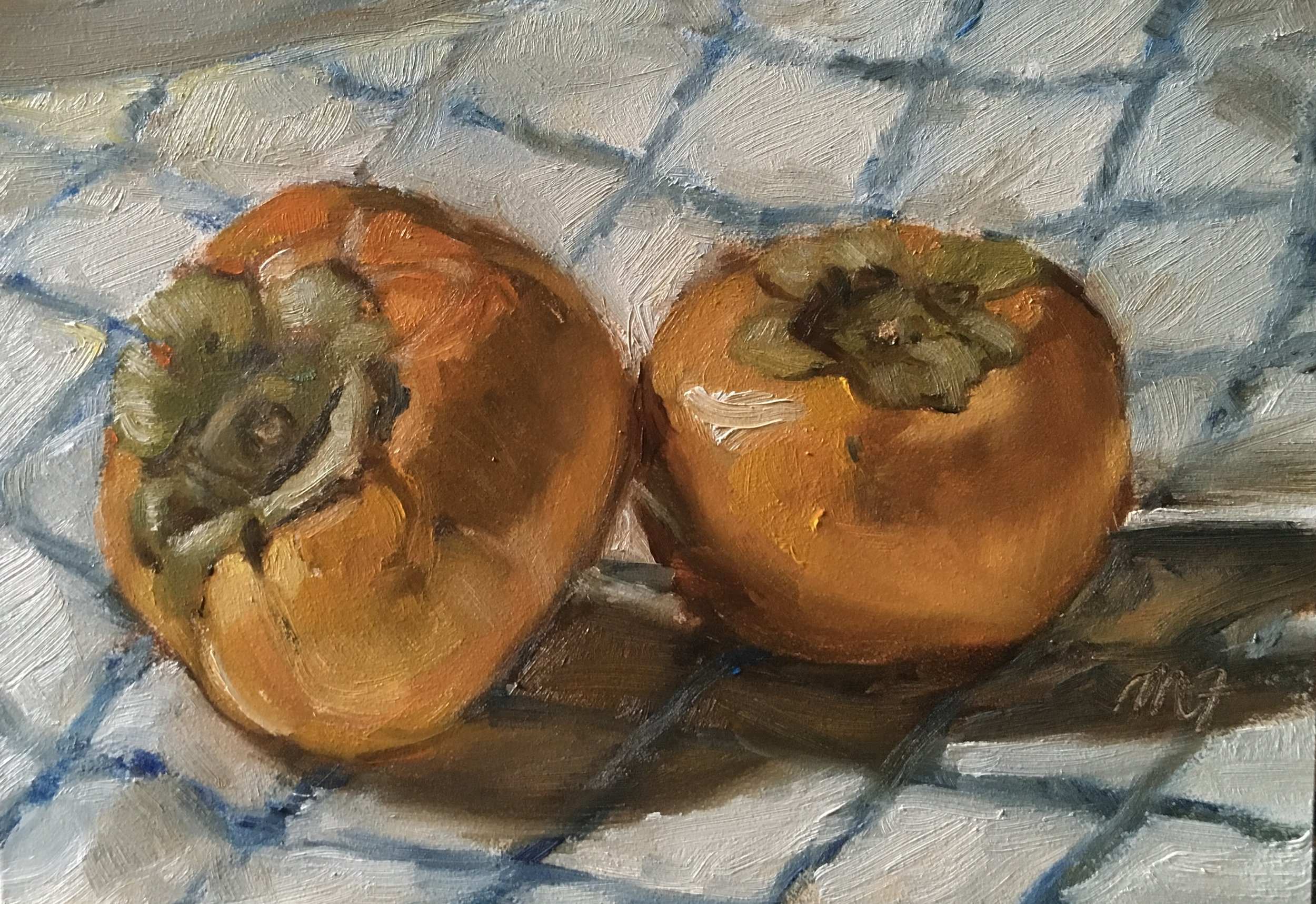 Persimmons  Oil on timber panel  5 x 7 inches  Available