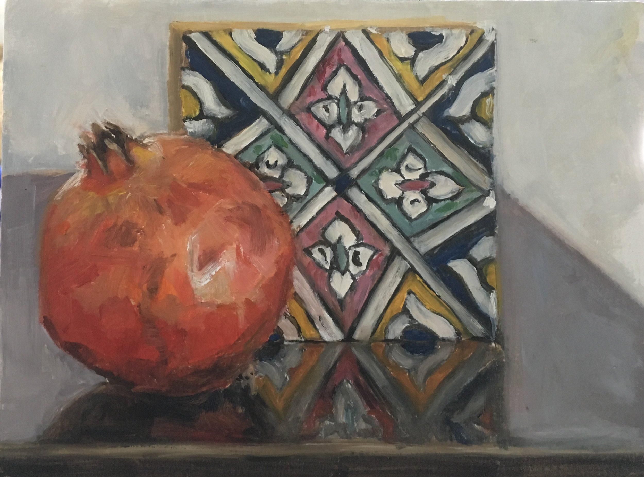 Pomegranate with Turkish Tile  Oil on timber panel  6 x 8 inches  Available
