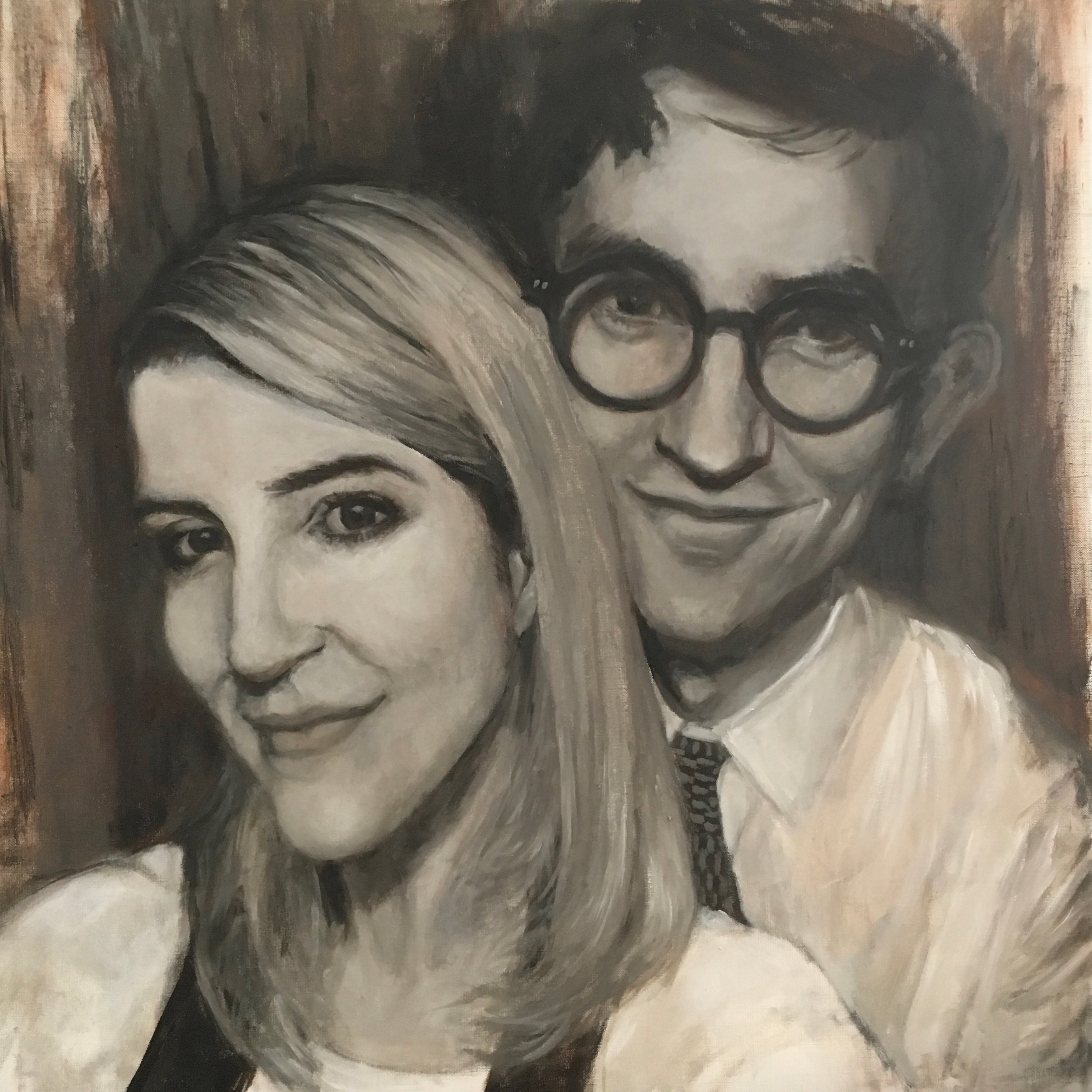 Evan & Oivia (Commission)  Oil on linen  16 x 16 inches  Sold