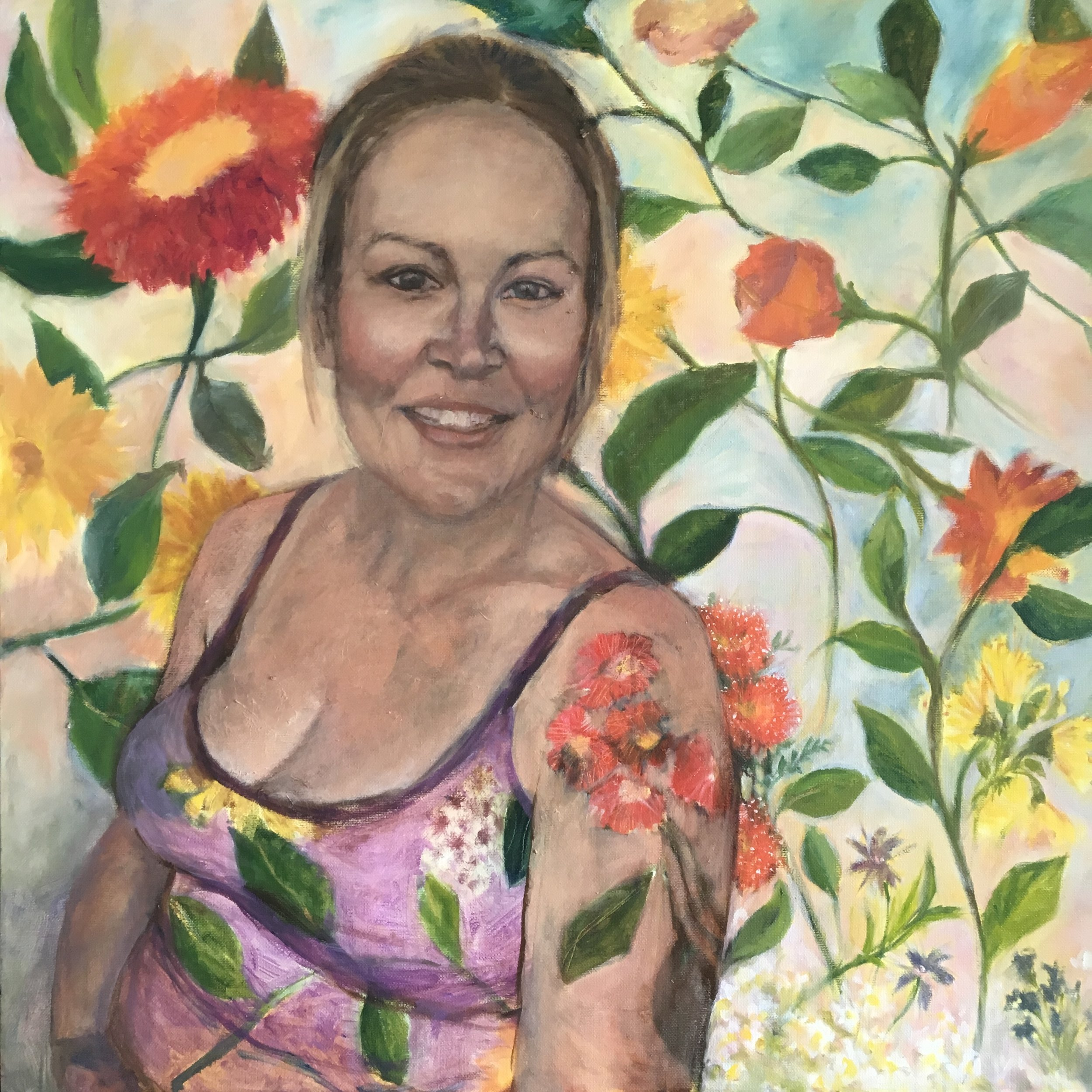 Katie in Bloom  Oil on canvas  24 x 24 inches