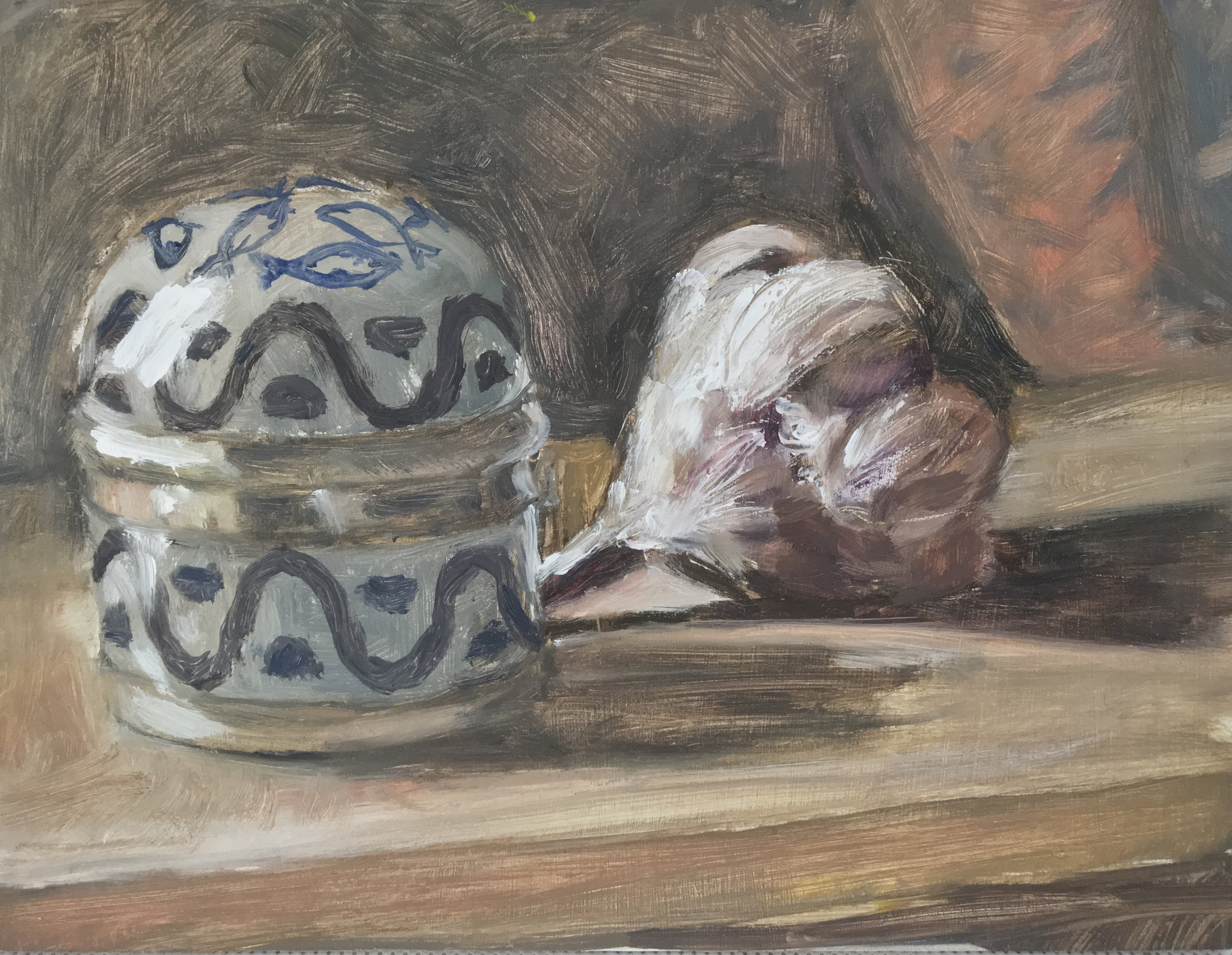 Jar with Garlic  Oil on panel  6 x 8 inches  Available