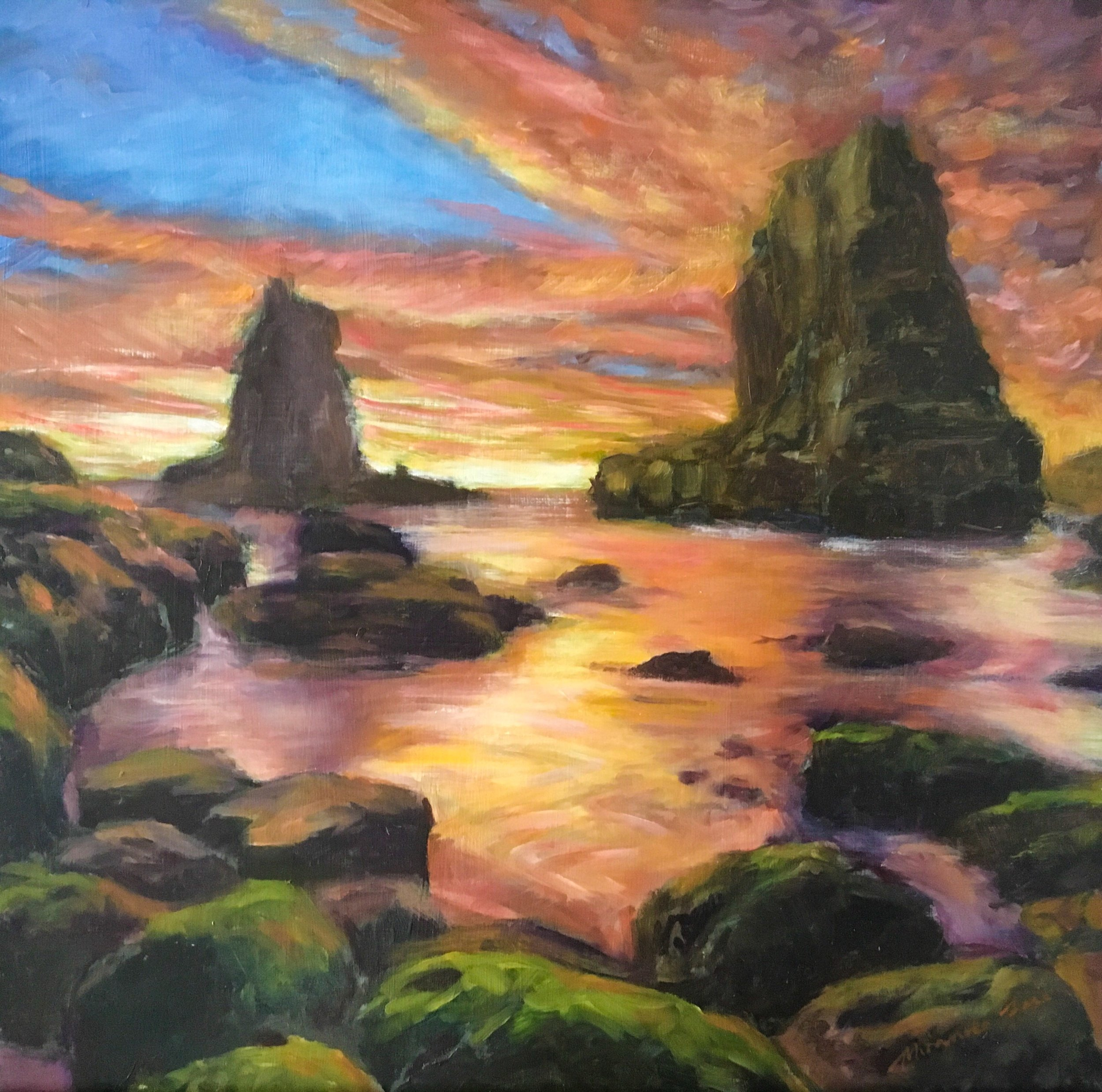 Sunrise over Cathedral Rocks Kiama  Oil on Aluminium Panel (framed)  12 x 12 inches  Available